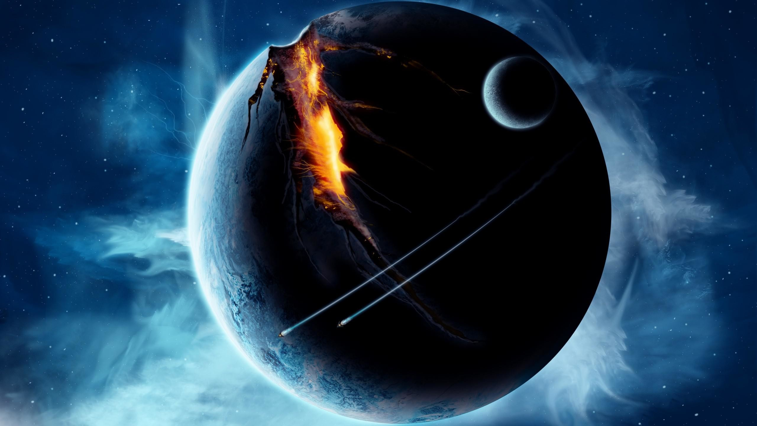 Outer Space Planets Broken Spaceships Free Images