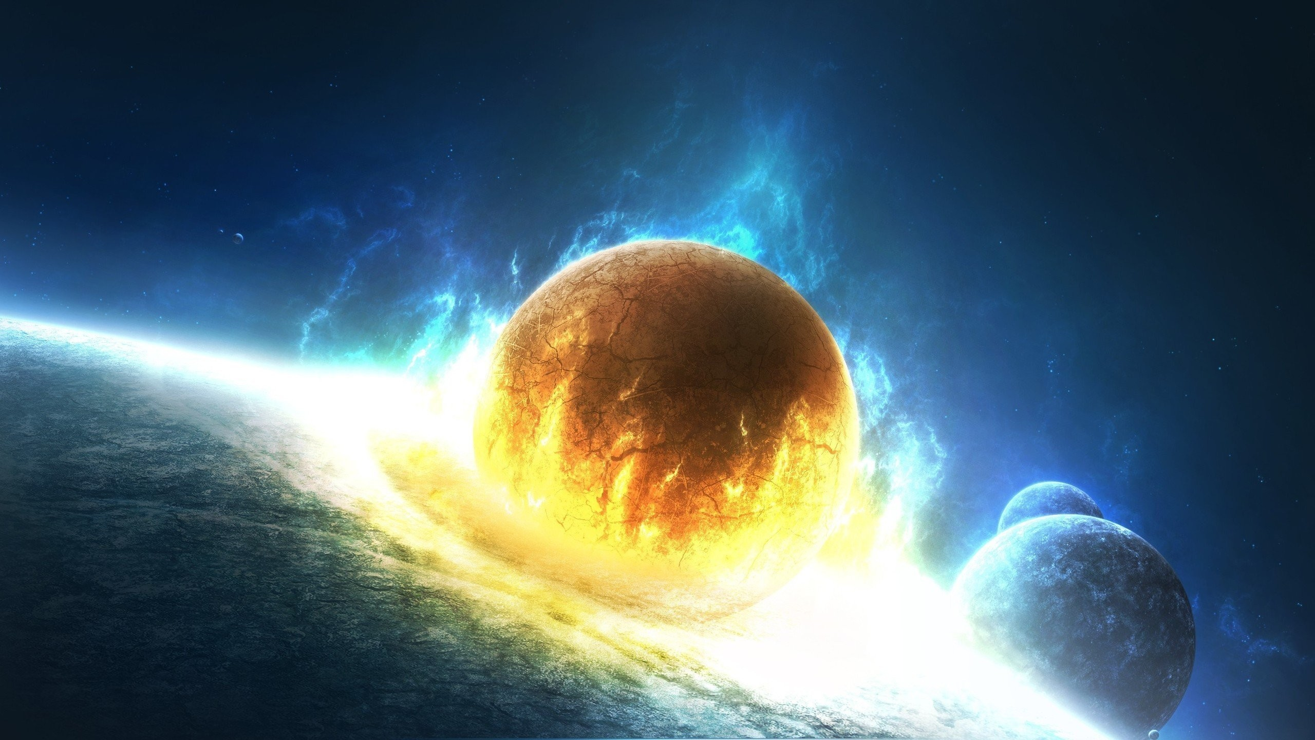 Outer space stars explosions planets fire Earth artwork collision wallpaper  | | 293421 | WallpaperUP
