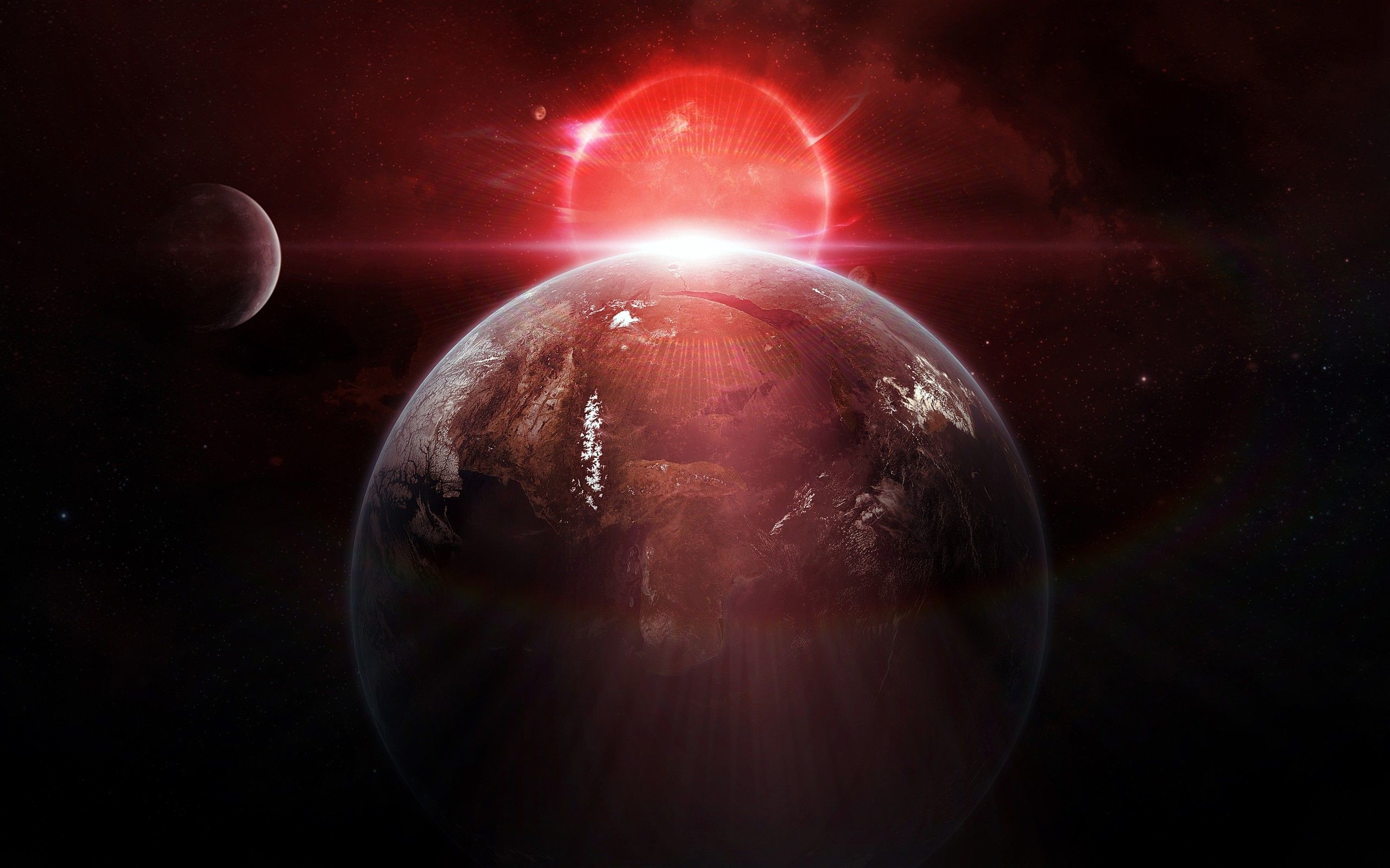 earth moon lights outer space planets red stars #a5H3