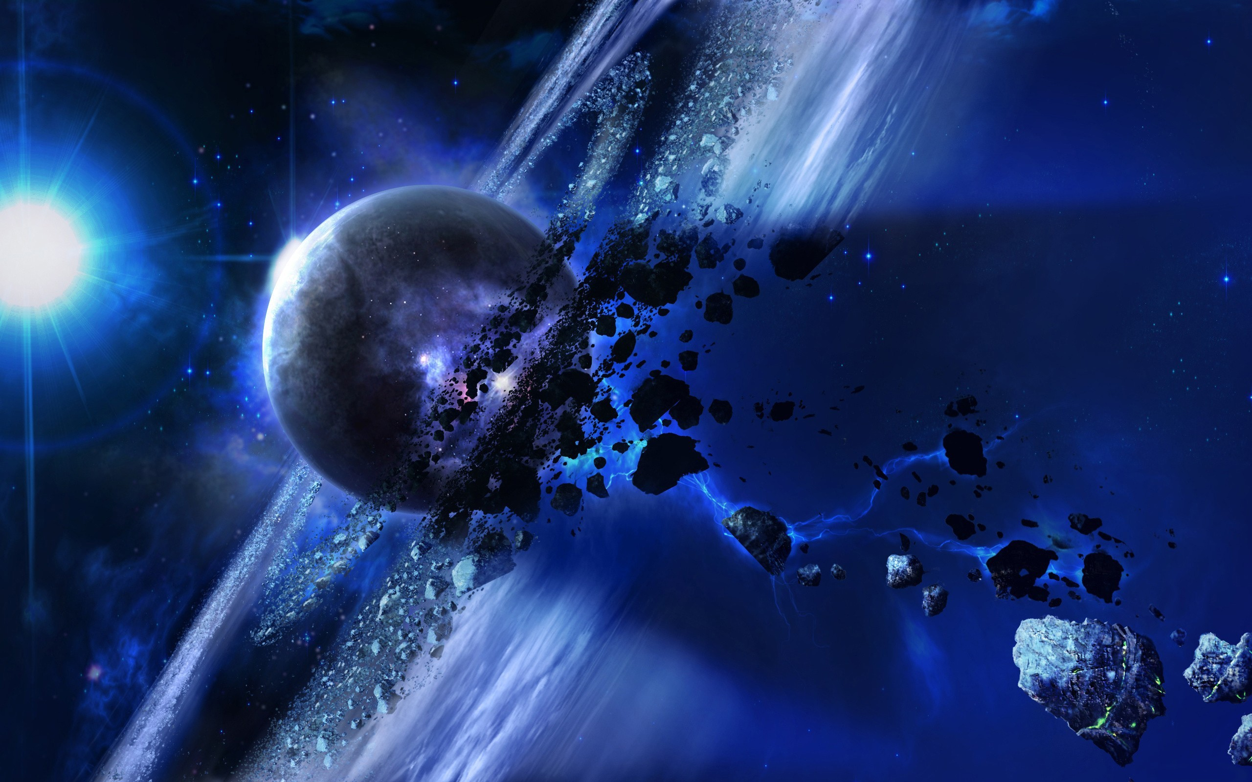 Wallpaper space, planets, asteroid