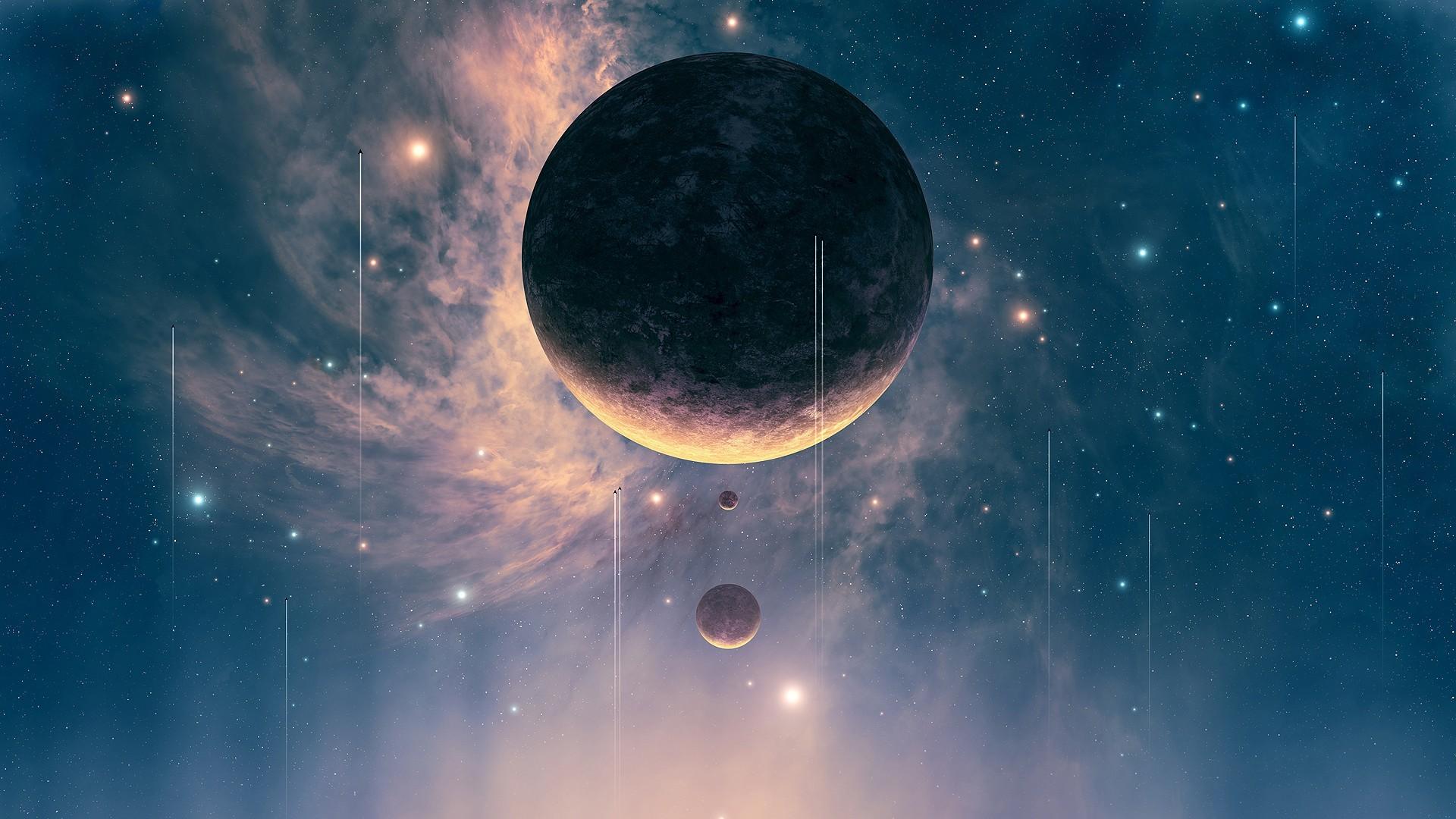 Digital Artwork Futuristic Outer Space Planets Spacescape