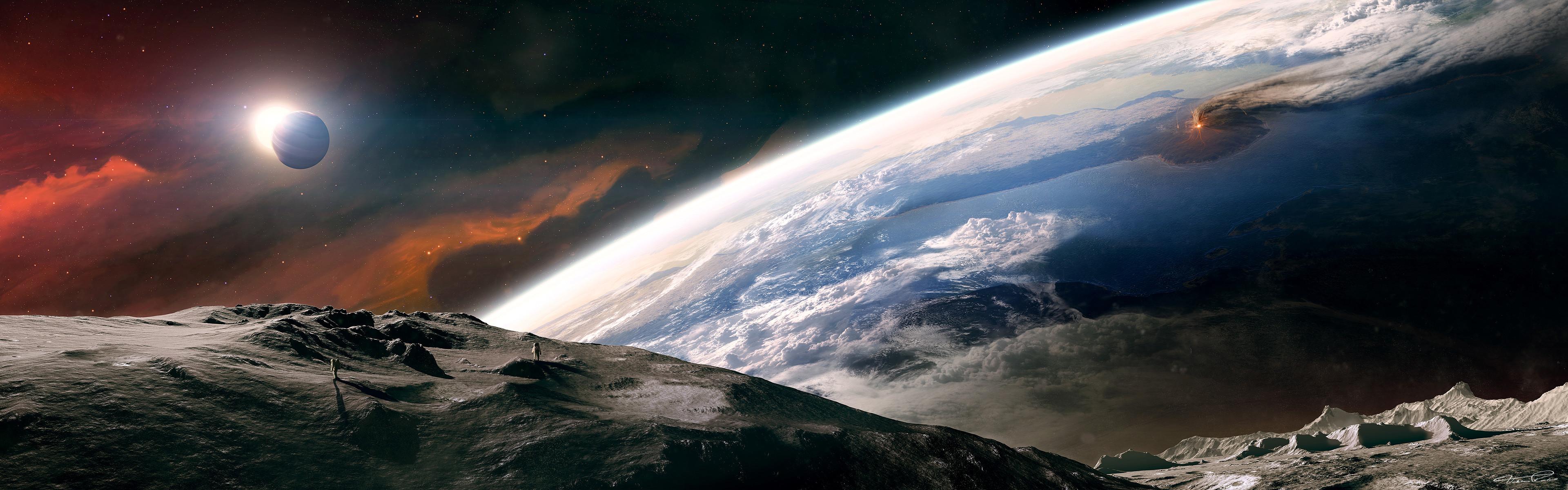 3d Space Scene Dual Screen Wallpaper #157366 – Resolution px