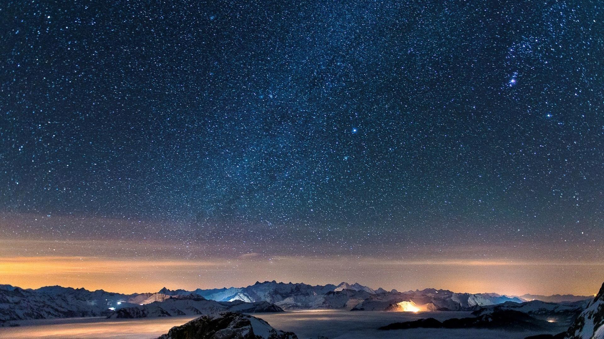 Snow stars wall night sky wallpaper | (59391)