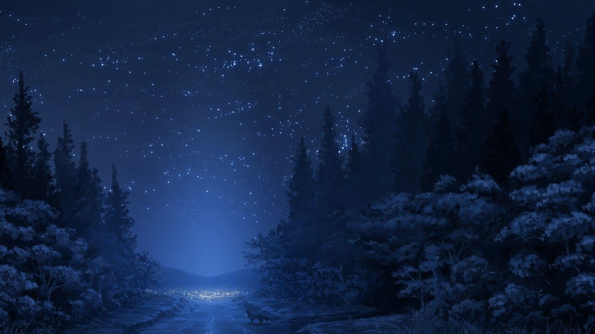 Hd wallpaper · Blue Forest Night – https://www.fullhdwpp.com/nature/