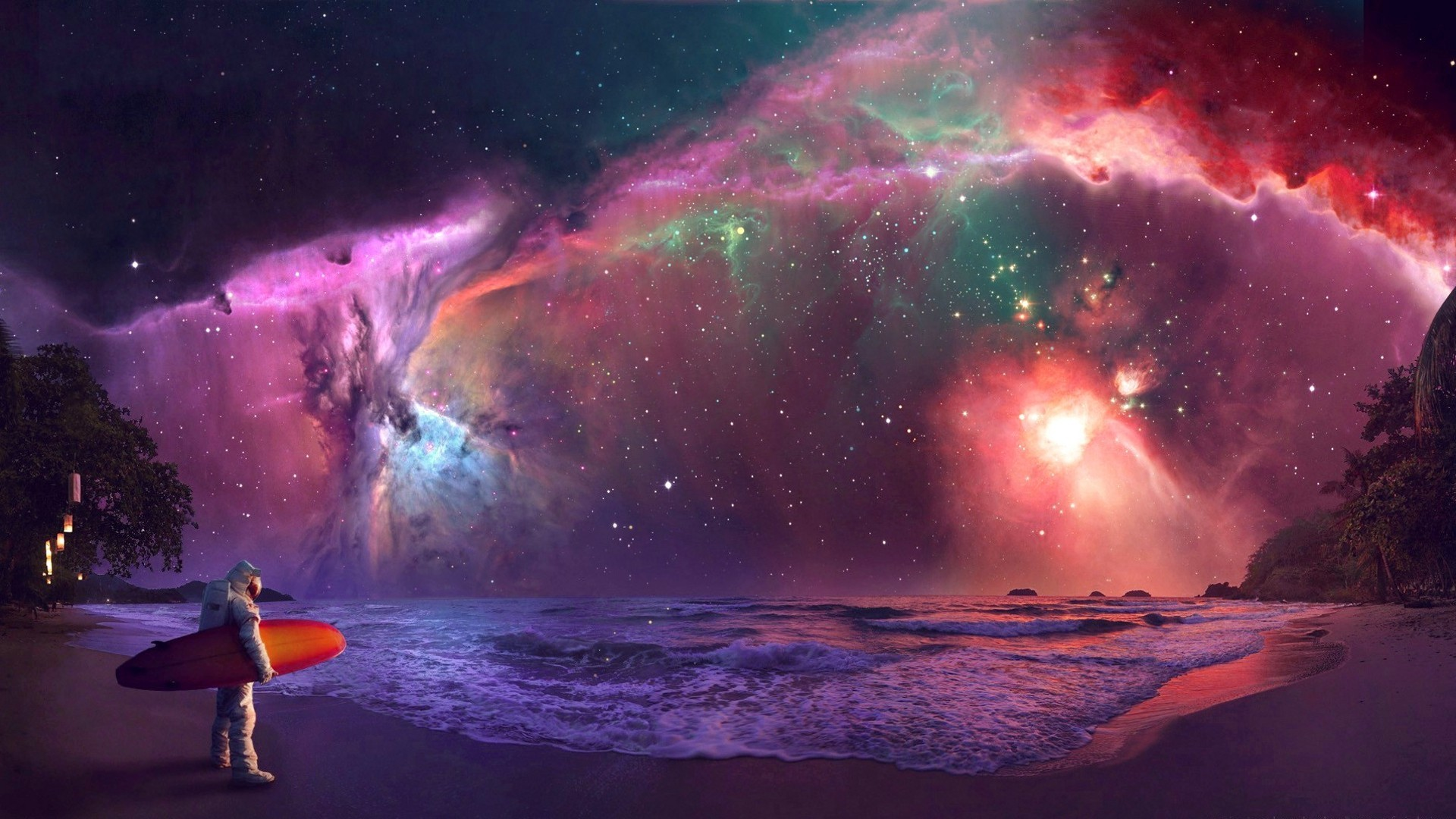 … Super Surfing HD Desktop Wallpaper. 1920×1080. Nebula Tag – Nebula  Beach Space Colorful Surfer Ocean Wonderful Great Waves Beaches Amazing  Paradise …