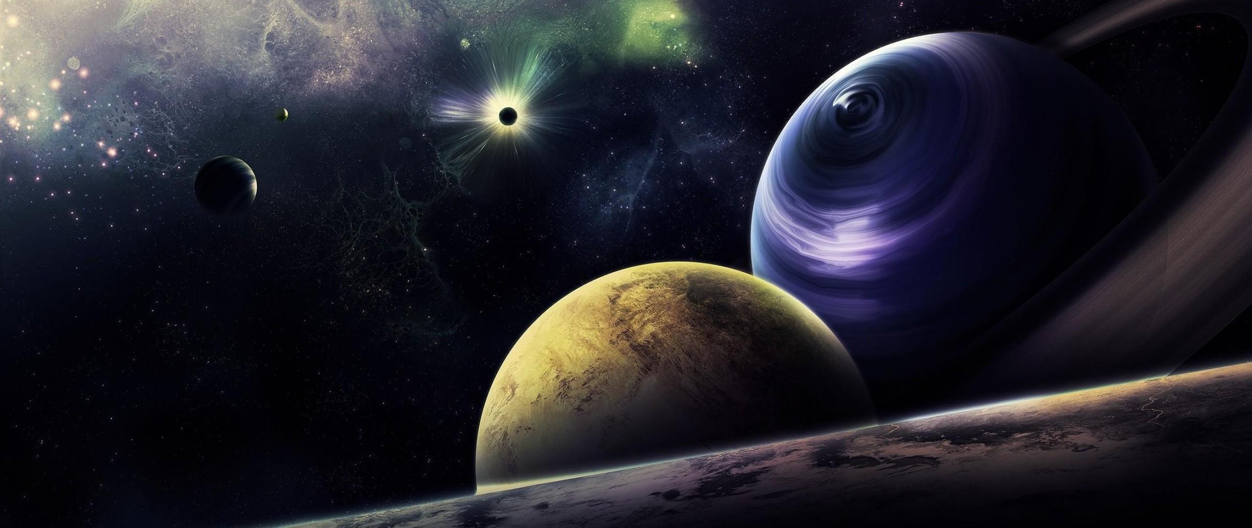 Wallpaper planets, circle, flash, radiance, galaxy