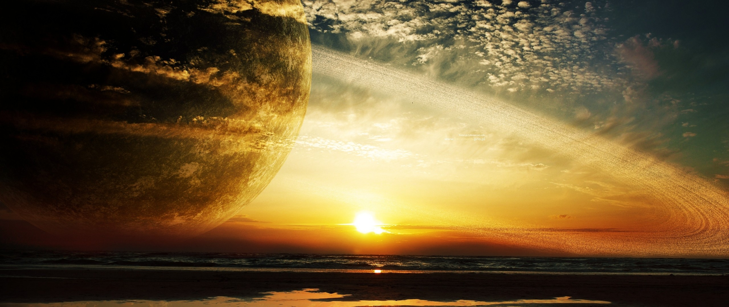 Preview wallpaper sunset, sea, rings, planet 2560×1080