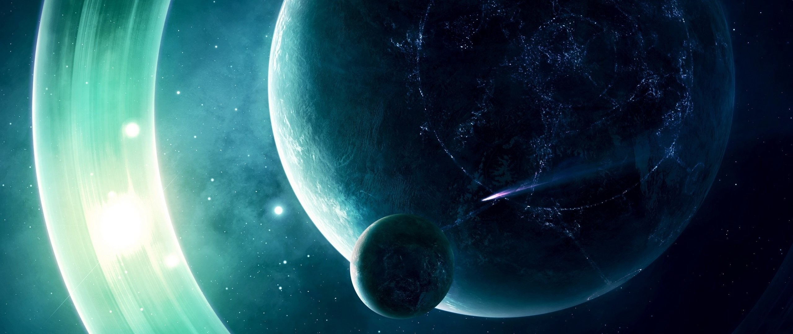 Preview wallpaper space, planet, light 2560×1080