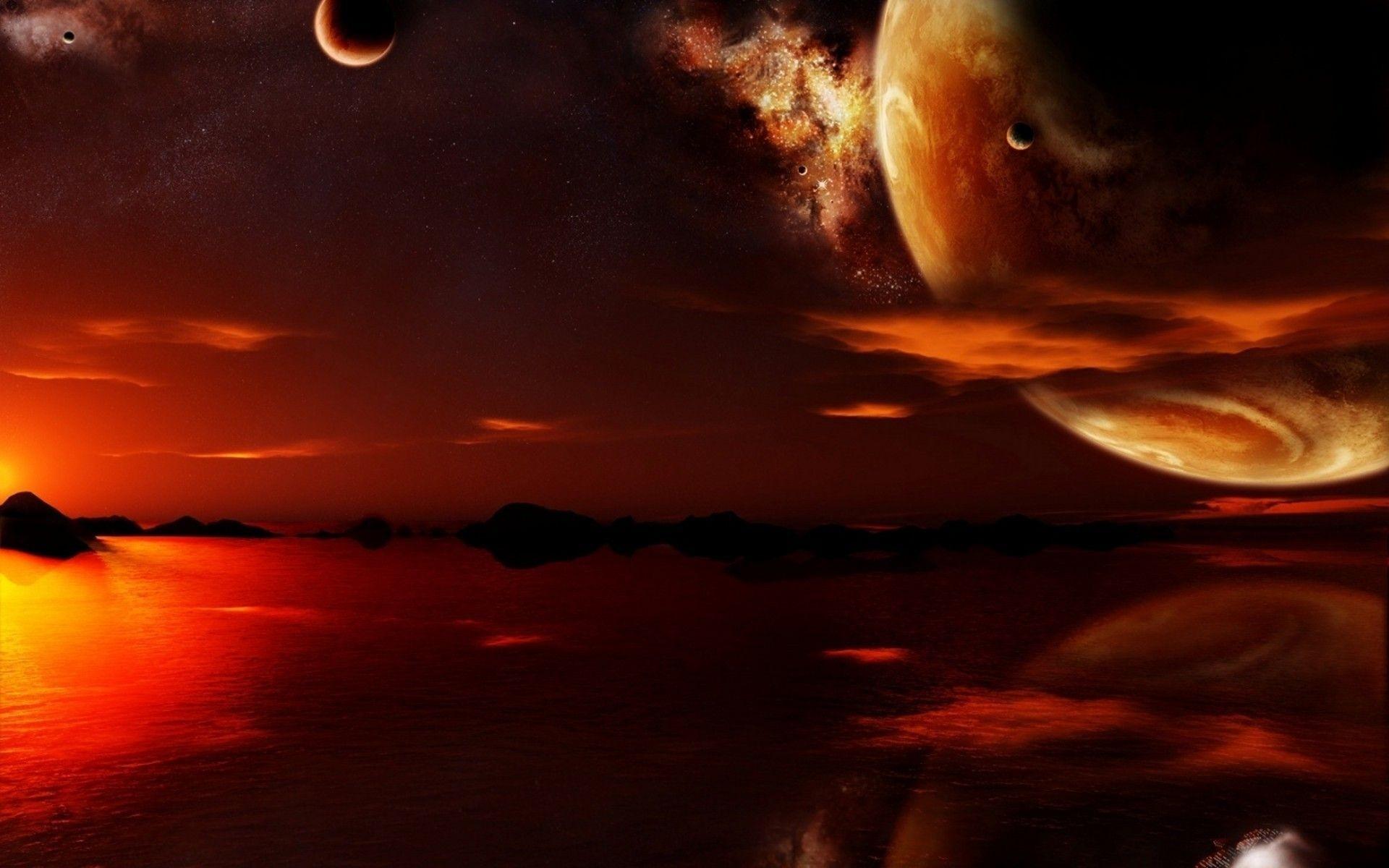 Red planet, moon, sky, lake, sunset, fantasy, HD .