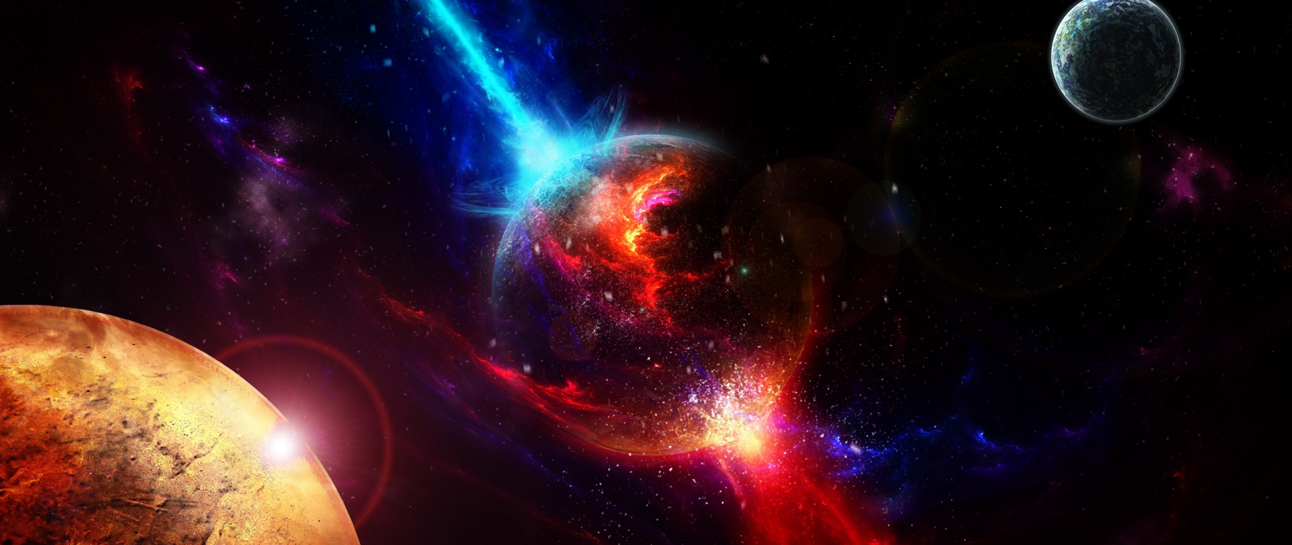 Wallpaper space, planets, takeoff, explosion