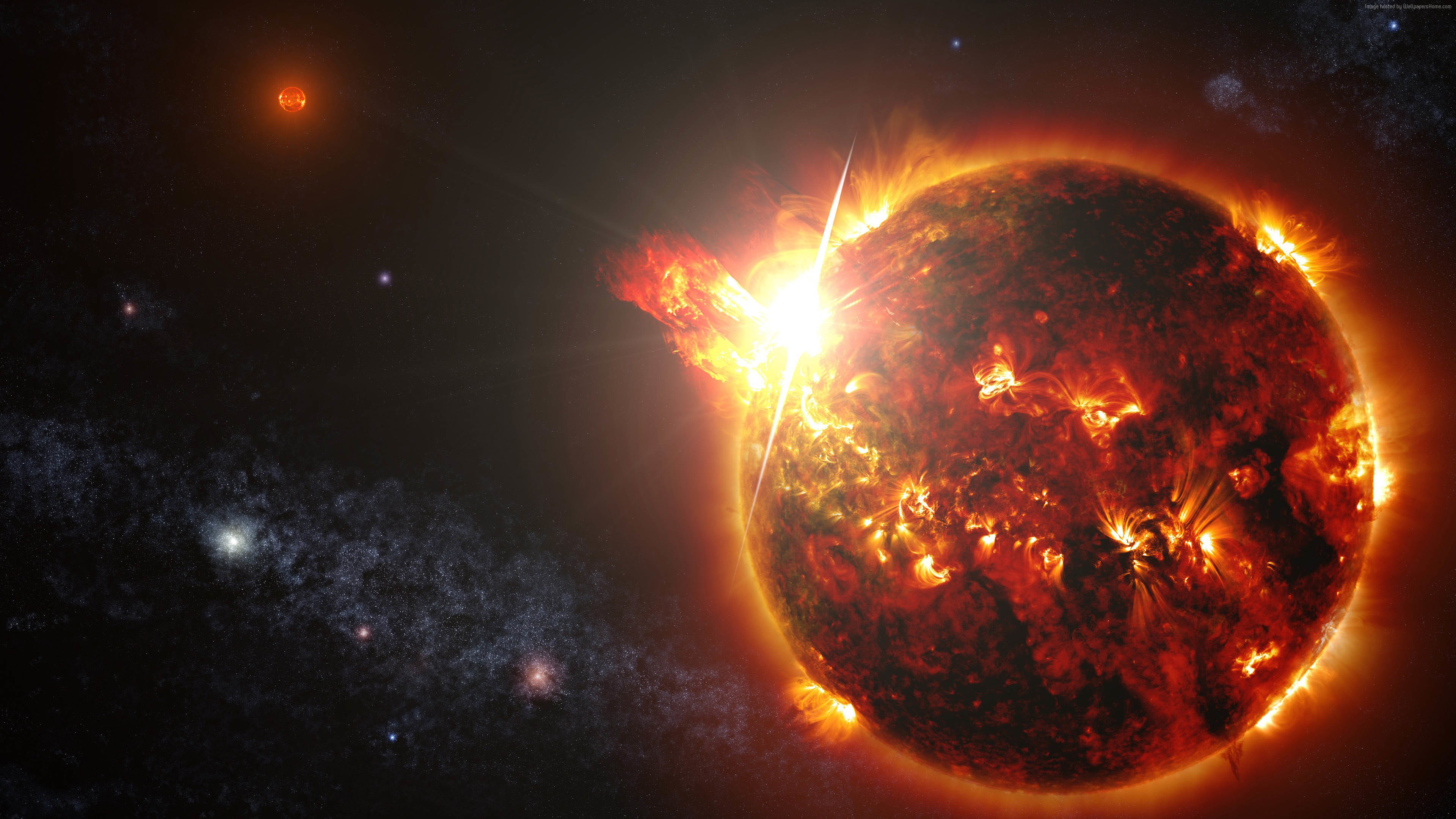 Erupting Planet Space Art Wallpaper wallpaper