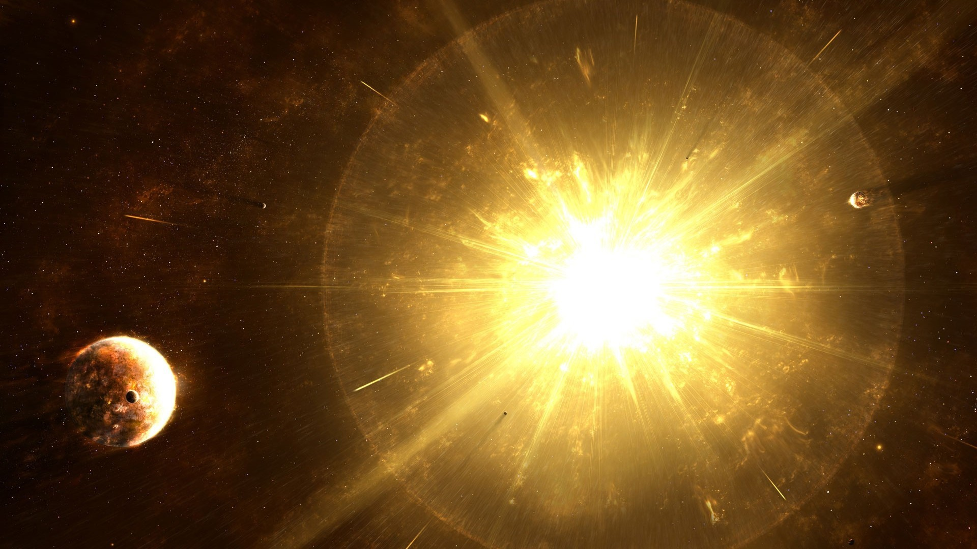 Sun outer space stars explosions planets last supernova wallpaper