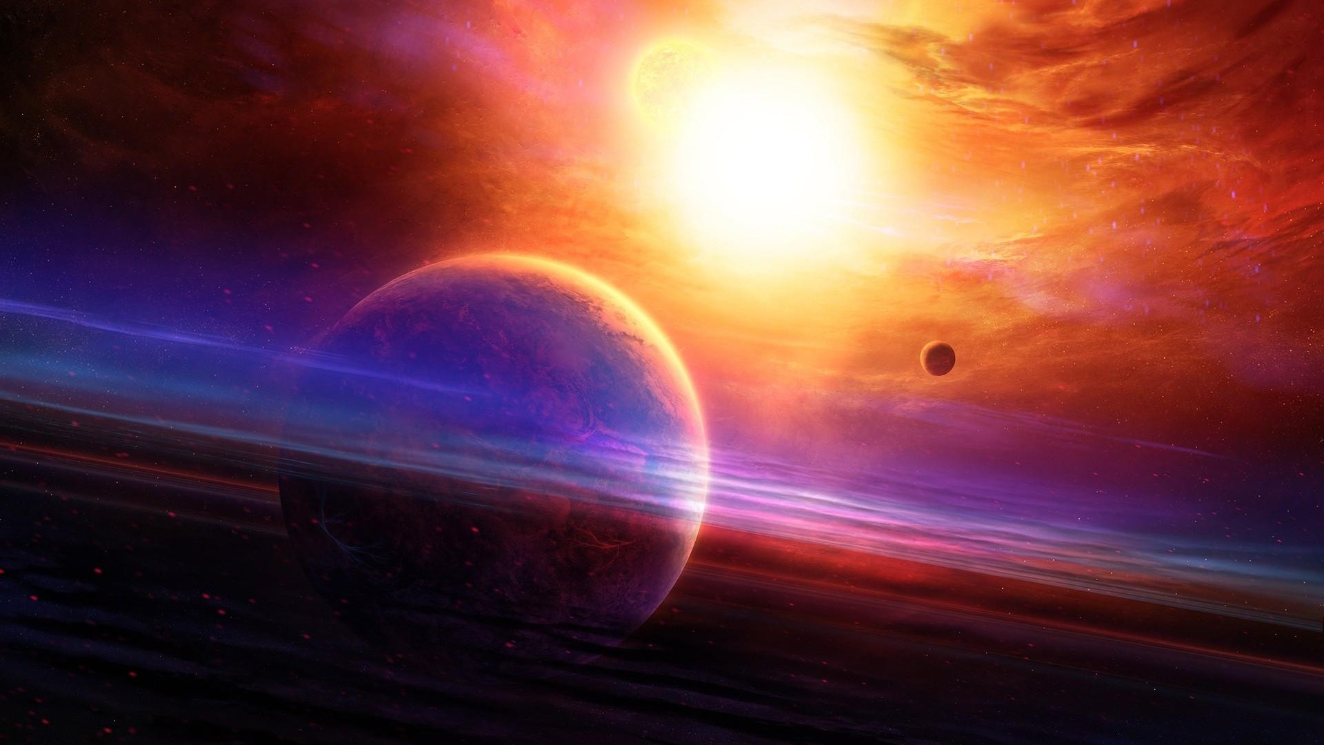 Download now full hd wallpaper planet with rings, supernova, glare, …