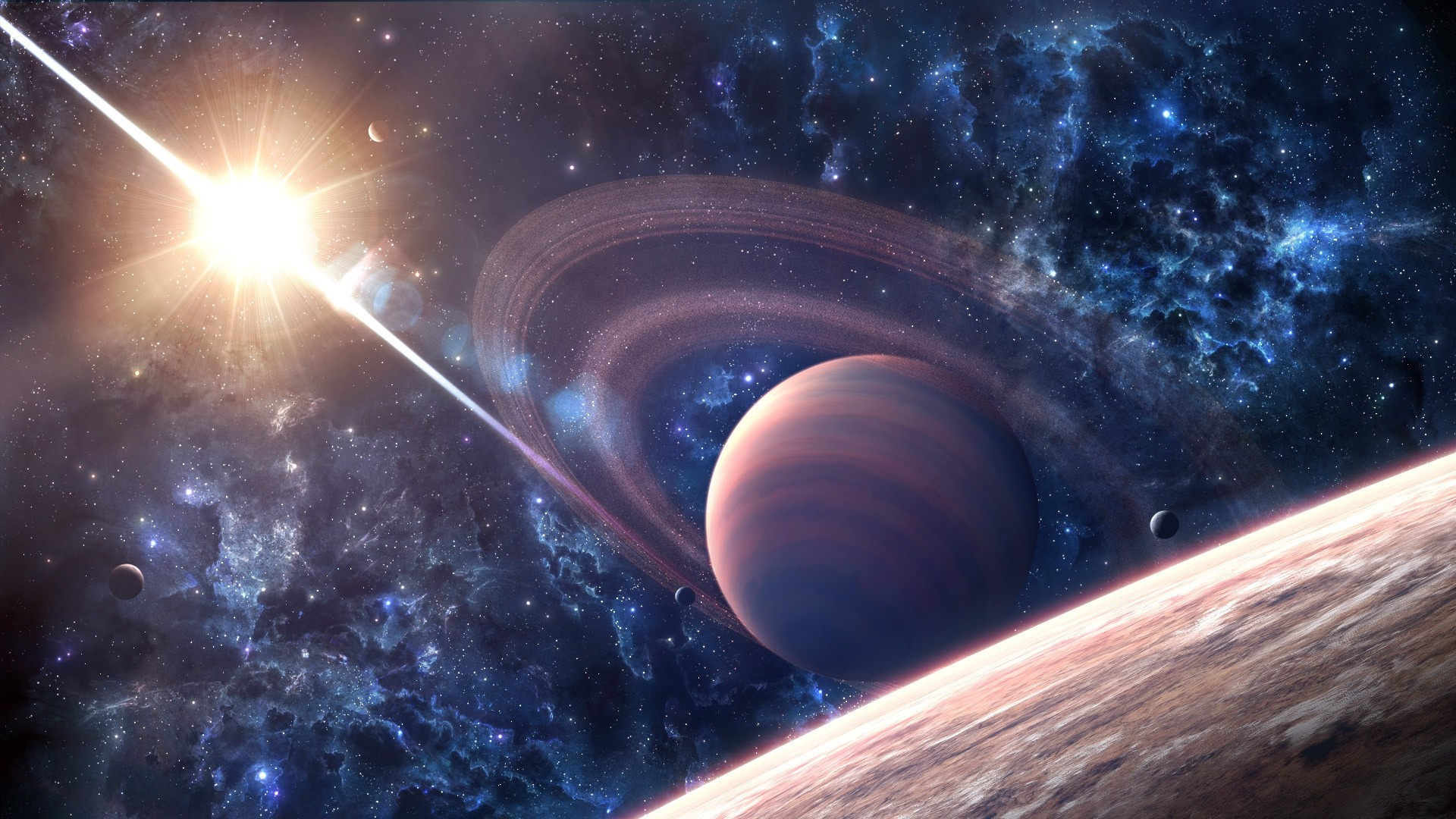planet with rings cloud cluster of stars supernova surface …