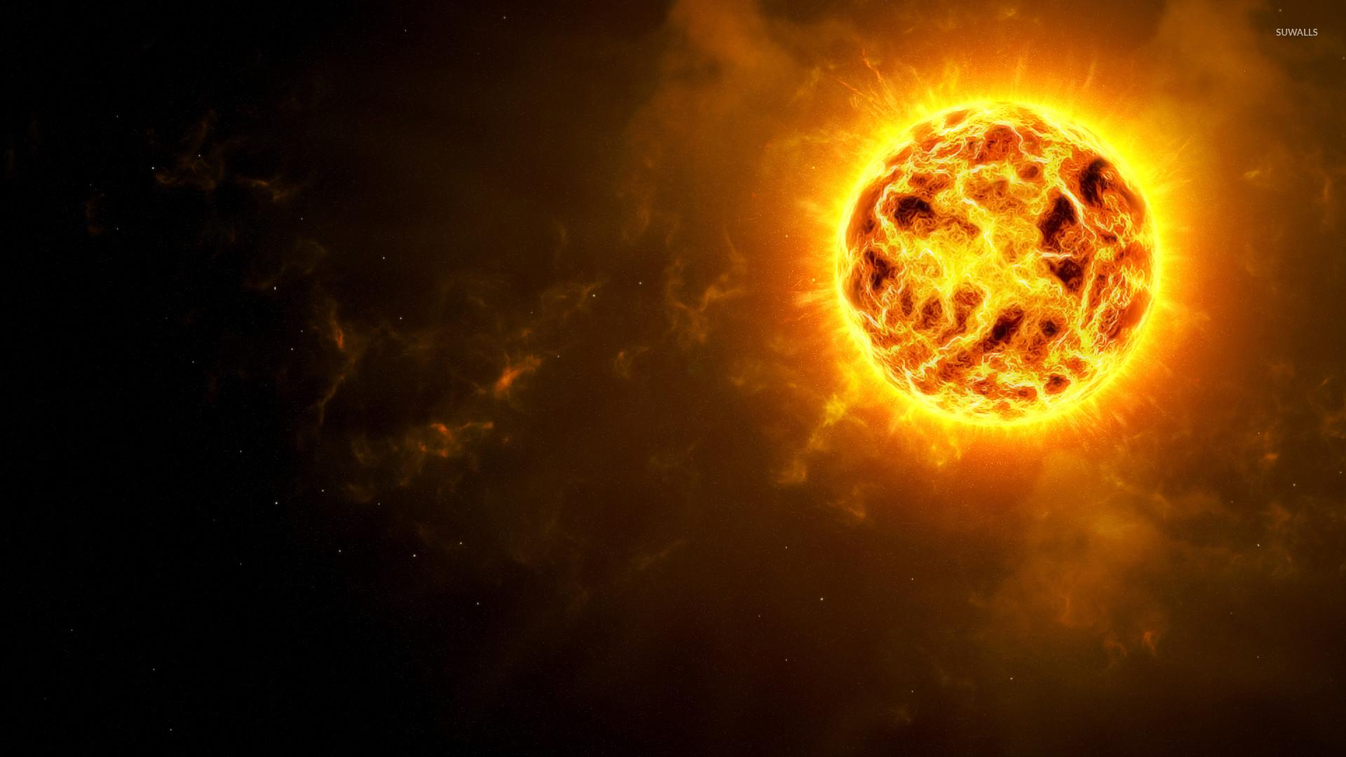Sun glowing in the universe wallpaper