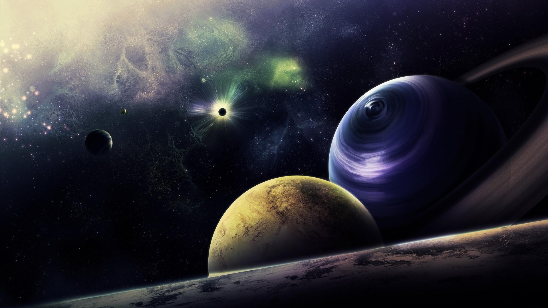 Preview wallpaper planets, circle, flash, radiance, galaxy 1920×1080
