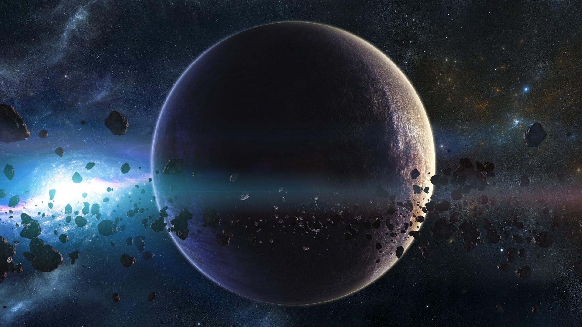 Wallpaper space, planets, asteroids, stars, belt, galaxy