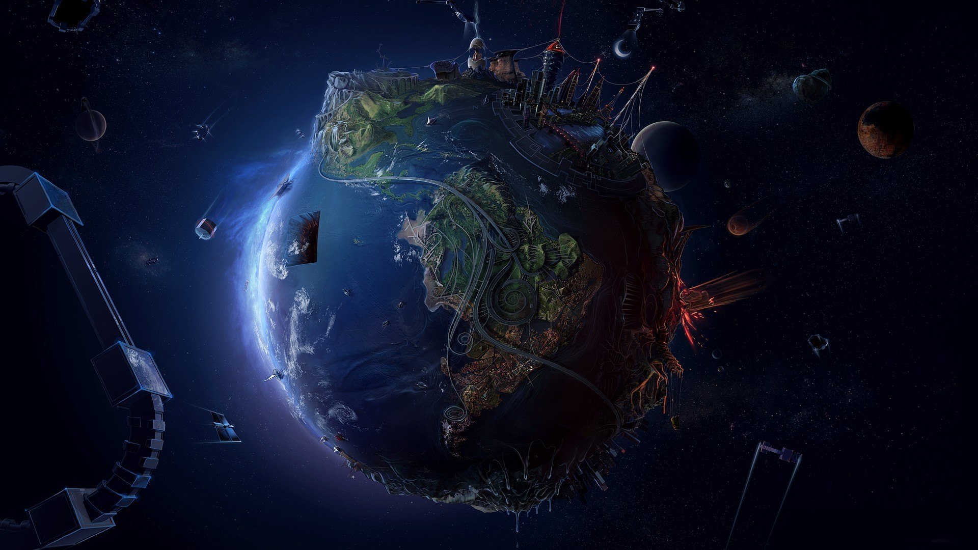 1920 x 1080. Our small world.   Space Wallpaper   Pinterest