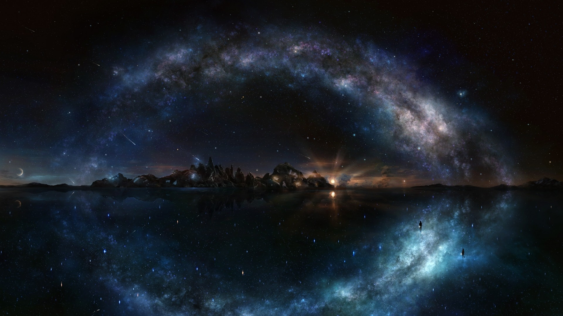 Wallpaper night, starry sky, shine, water, island, rock, galaxy