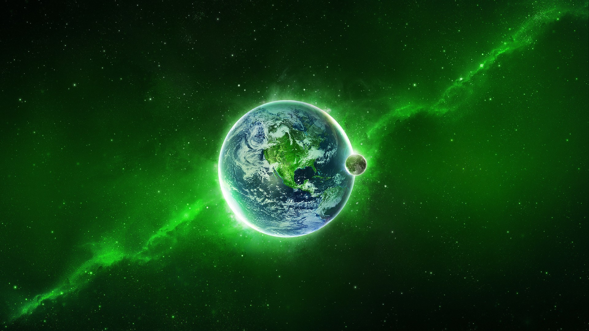 Our planet is on the background a green nebula