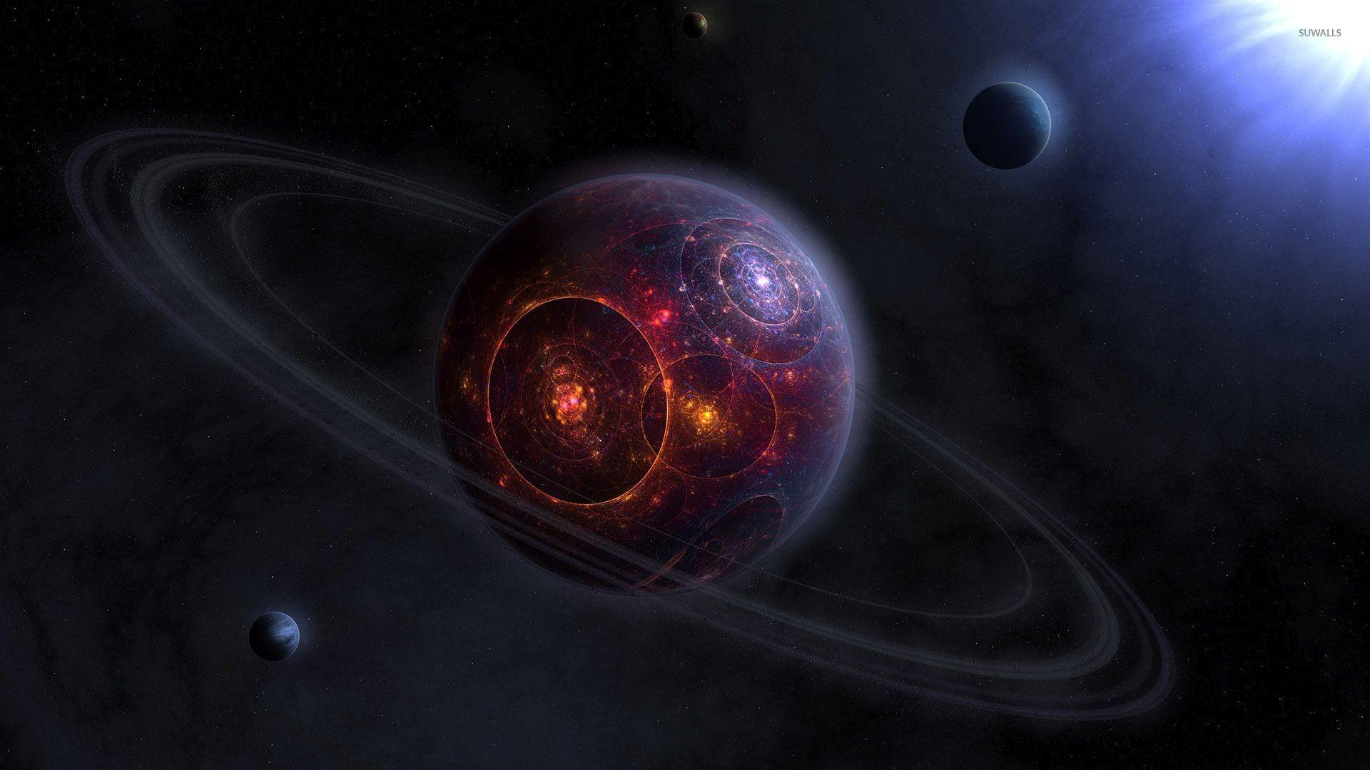 Rings around the fractal planet wallpaper jpg