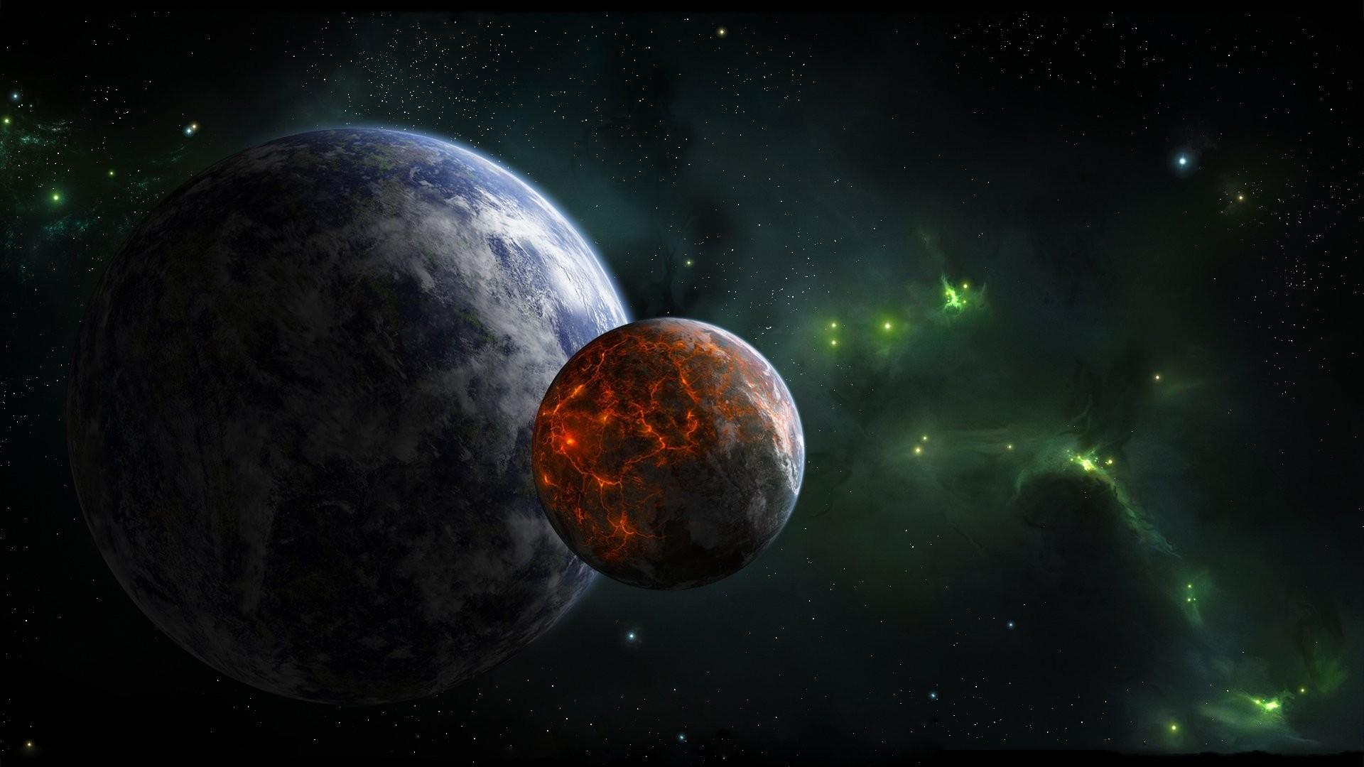 planet satellite volcanic activity star green nebula