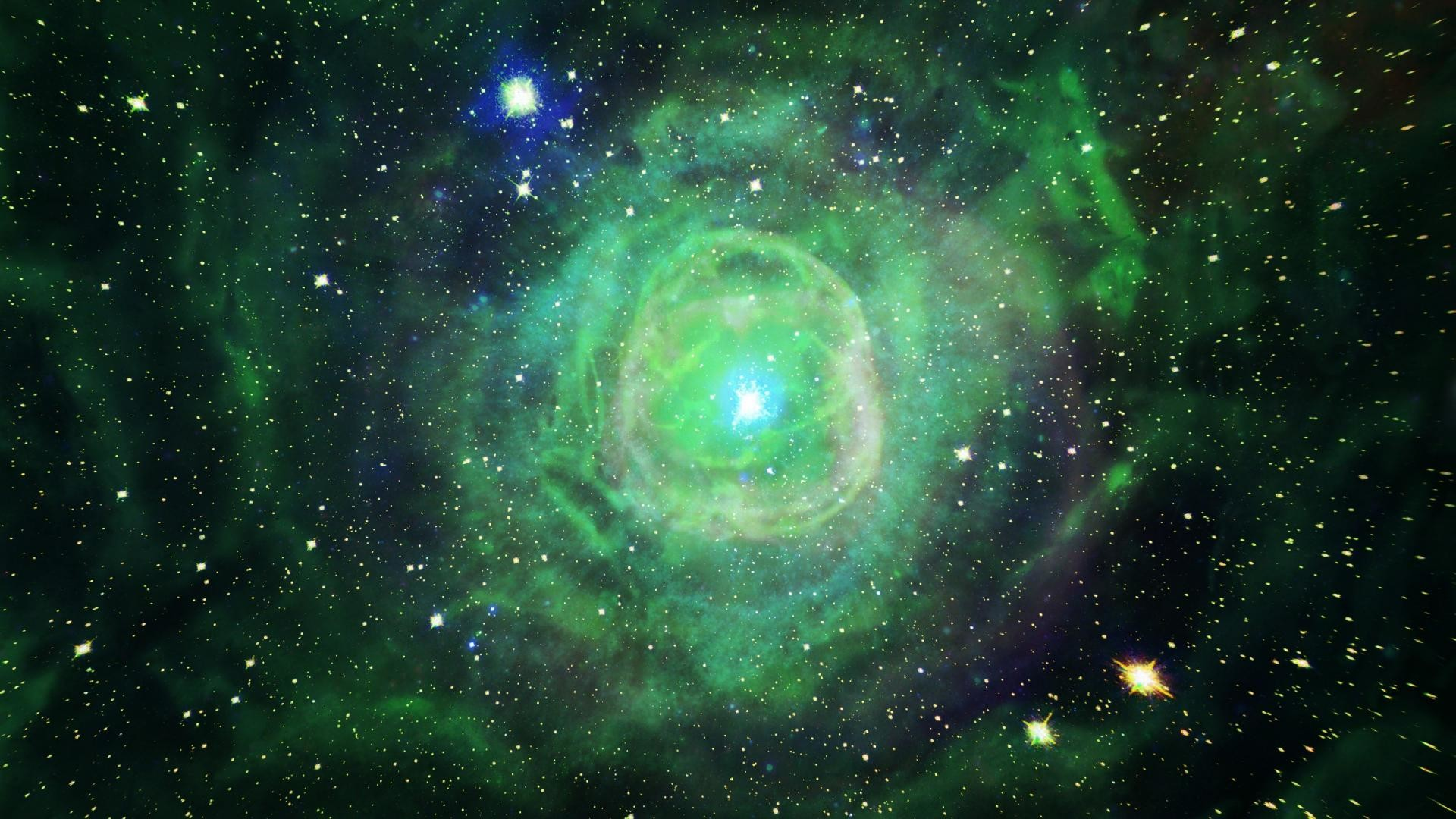 Green outer space stars explosions nebulae wallpaper   (25682)