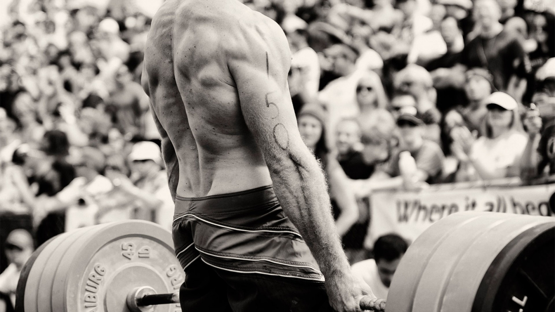 Preview wallpaper weightlifting, back, sportsman, weight, bar, muscles  1920×1080