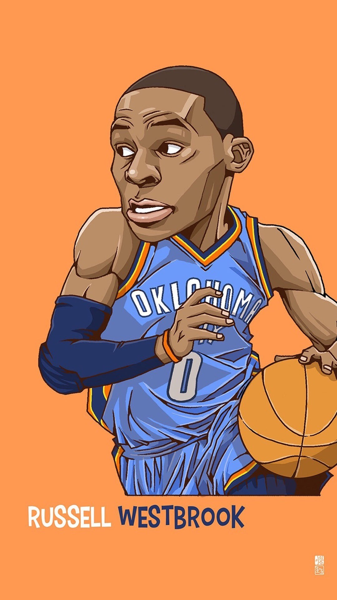 Russell Westbrook Cartoon iPhone Wallpap
