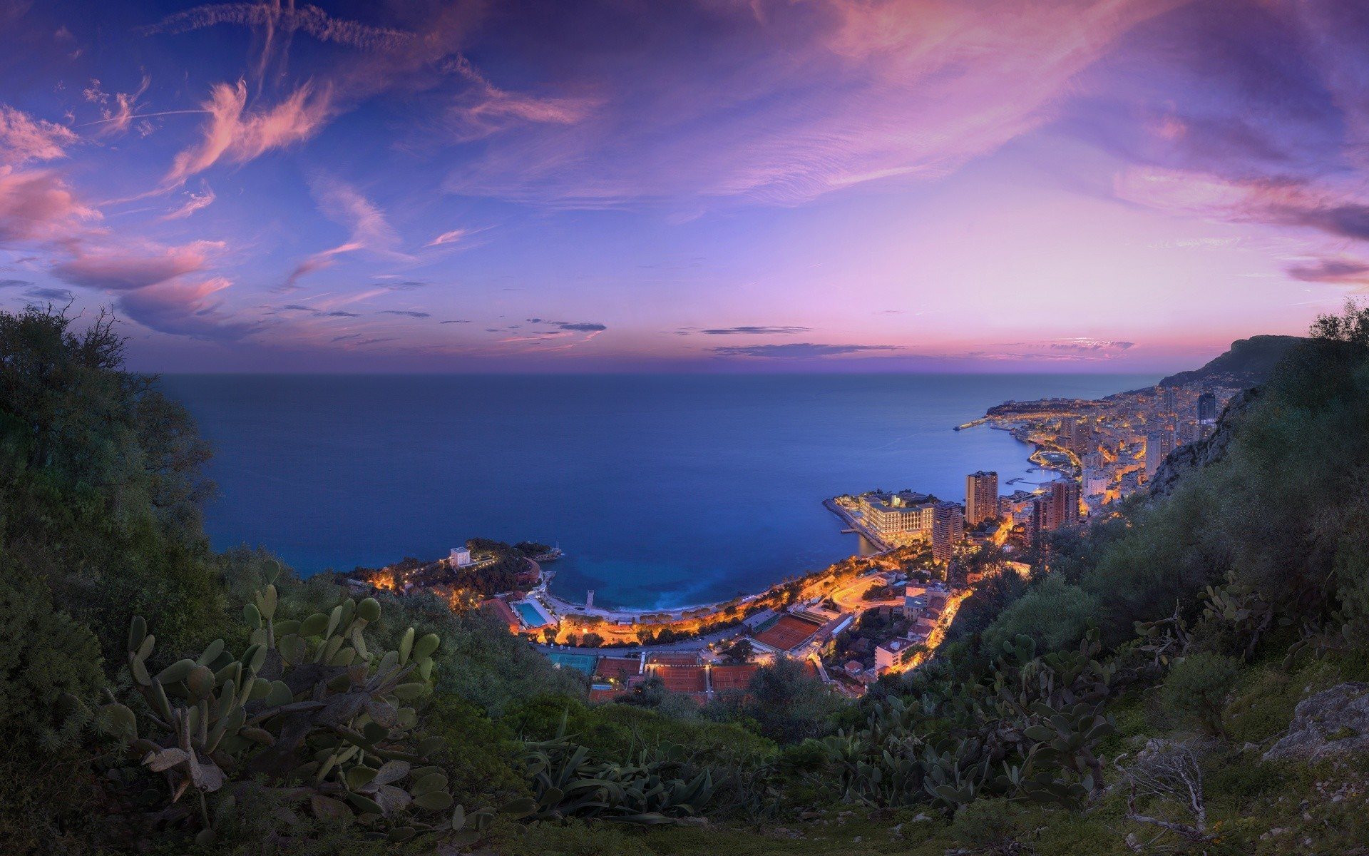 Free Monaco Purple Clouds Sunset phone wallpaper by shaklabazoo