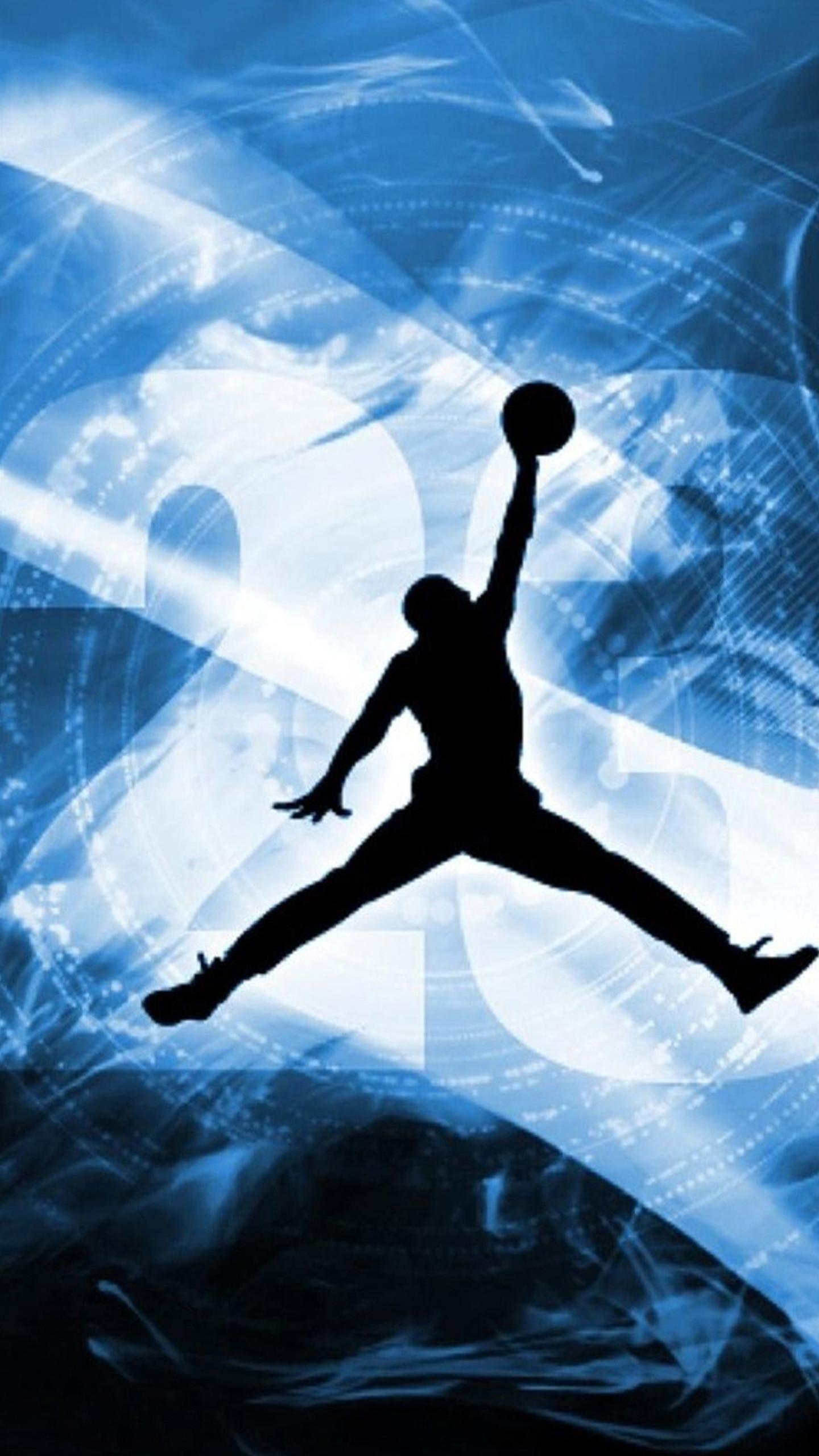 Jordan Logo Blue And Black Wallpaper