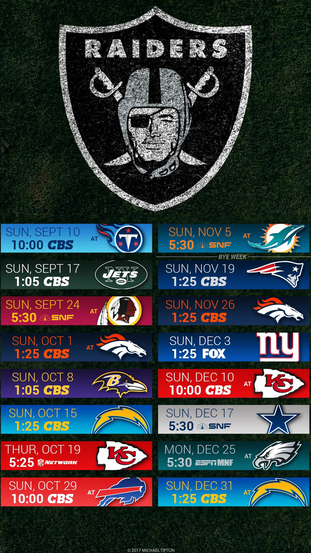 Oakland Raiders 2017 schedule turf logo wallpaper free iphone 5, 6, 7, …