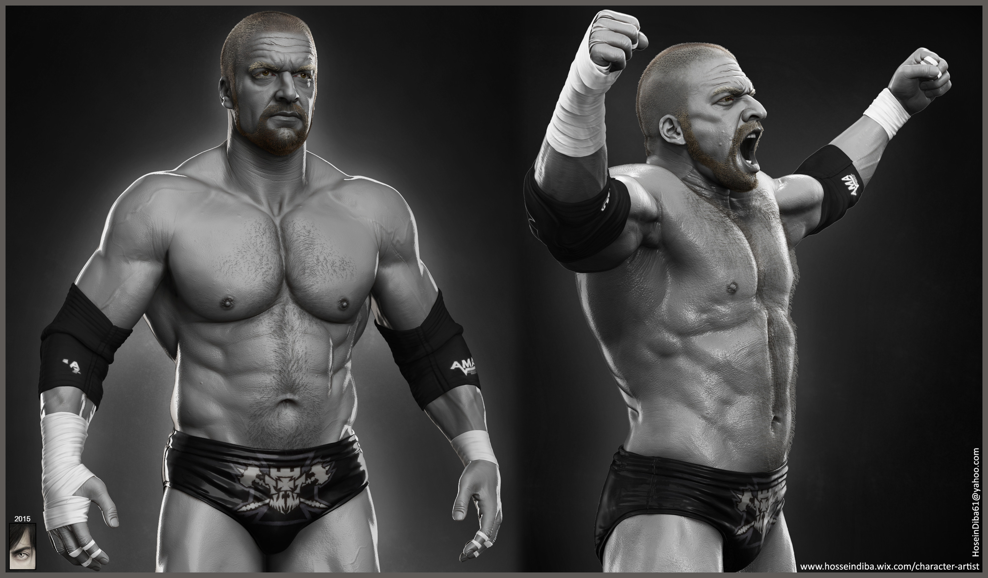 Triple H done for WWE by Hossein Diba 3209px X 1878px