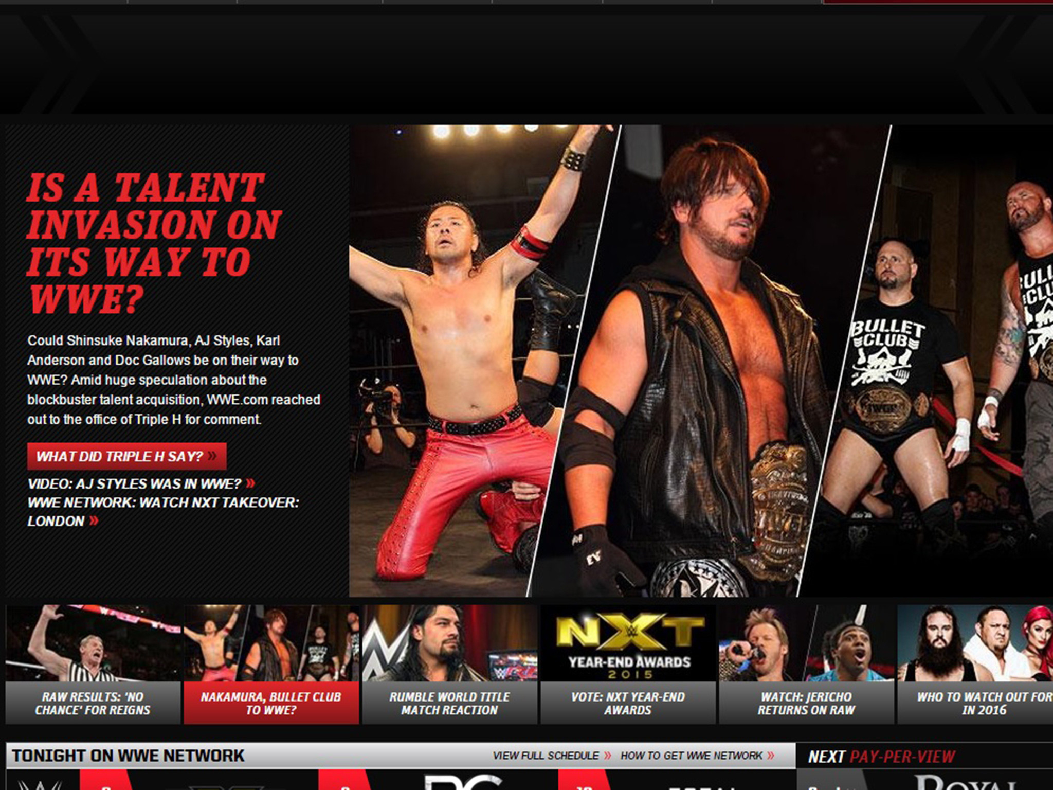 WWE news: New Japan stars AJ Styles, Shinsuke Nakamura and Bullet Club  members are signing, WWE tease   The Independent