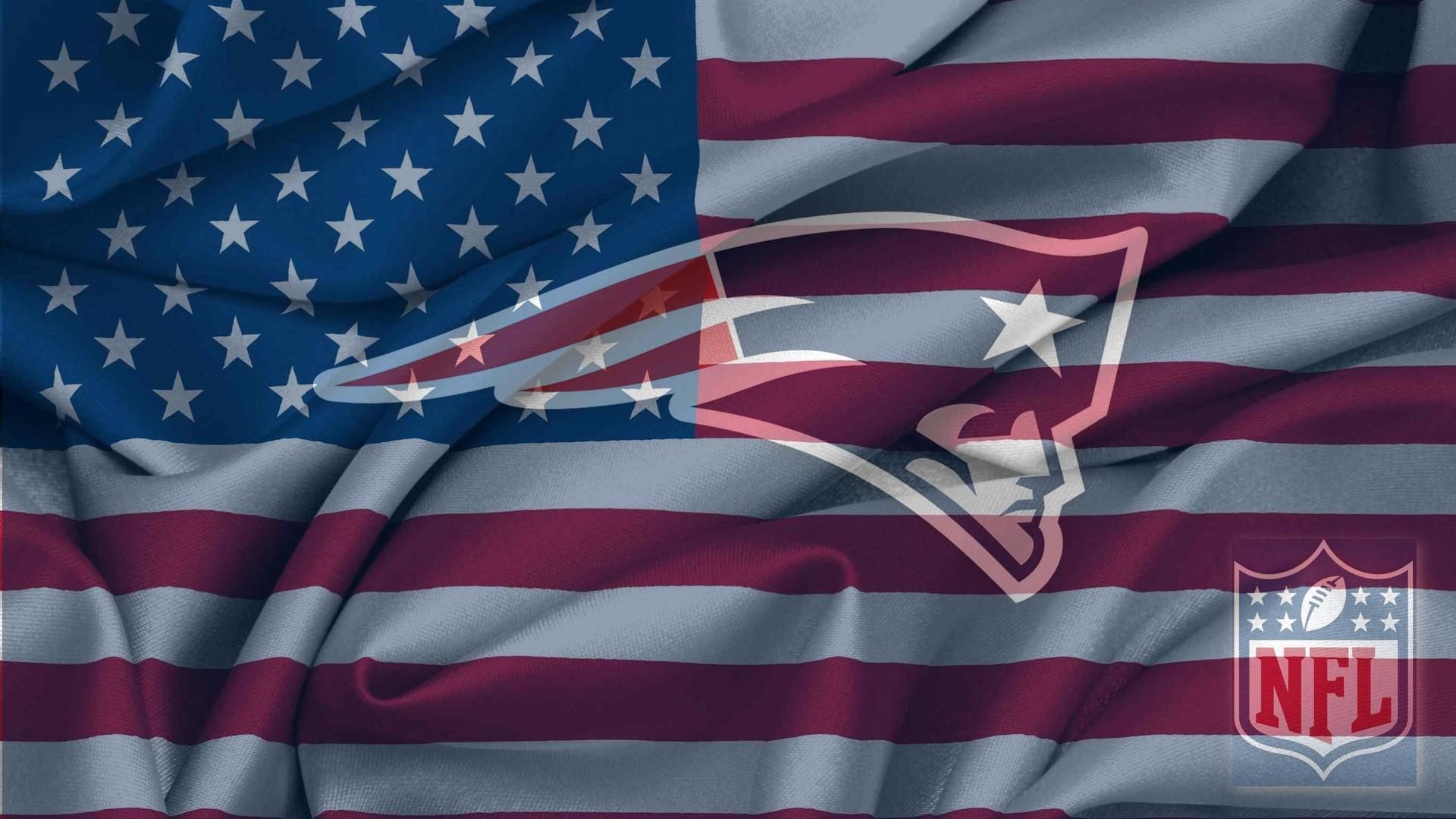 New England Patriots Logo With NFL Logo On USA Flag Wavy Canvas .