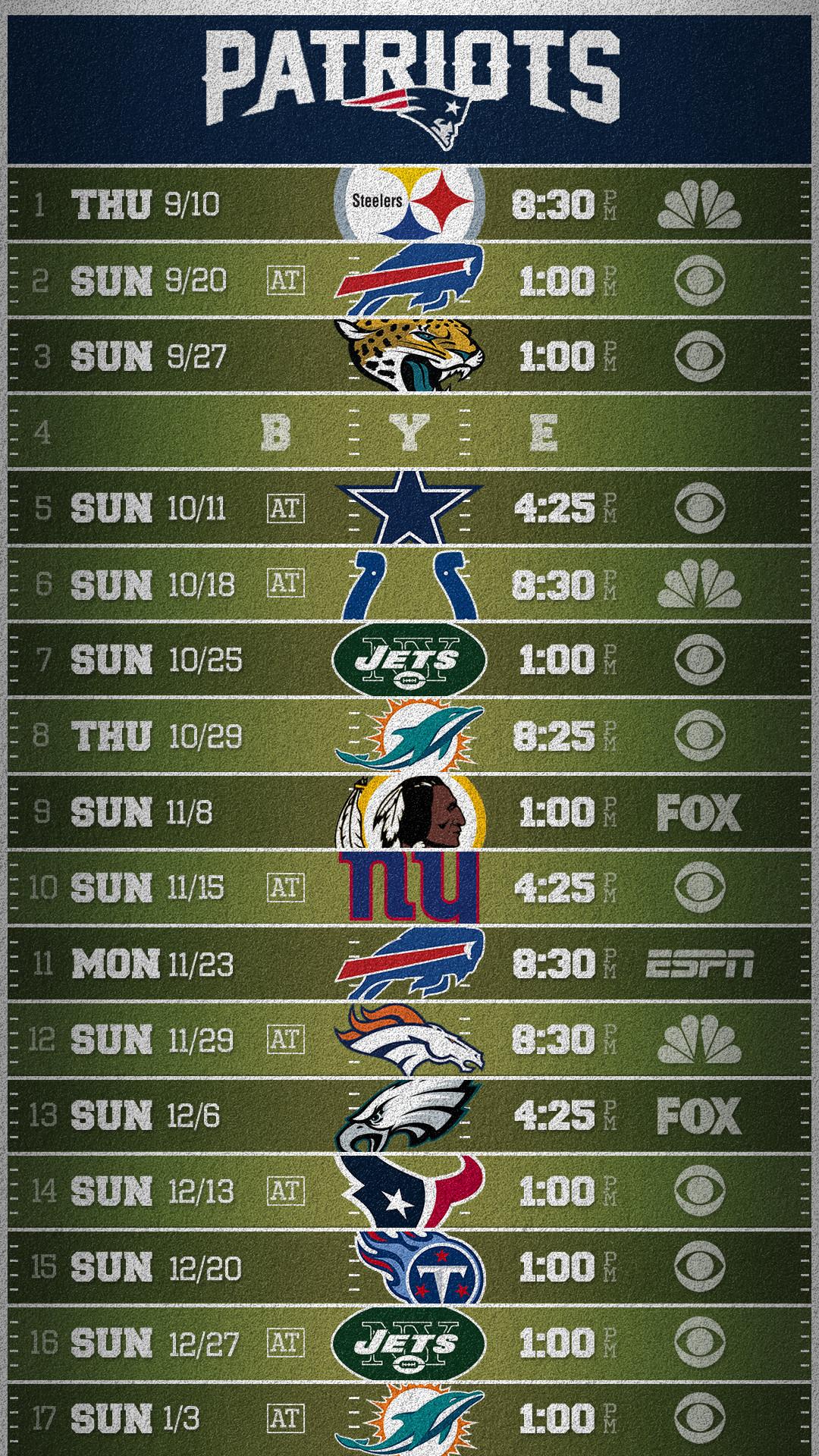 Patriots 2015 Mobile Schedule wallpaper (credit to /u/dbeat who made the  original 2014 version) …