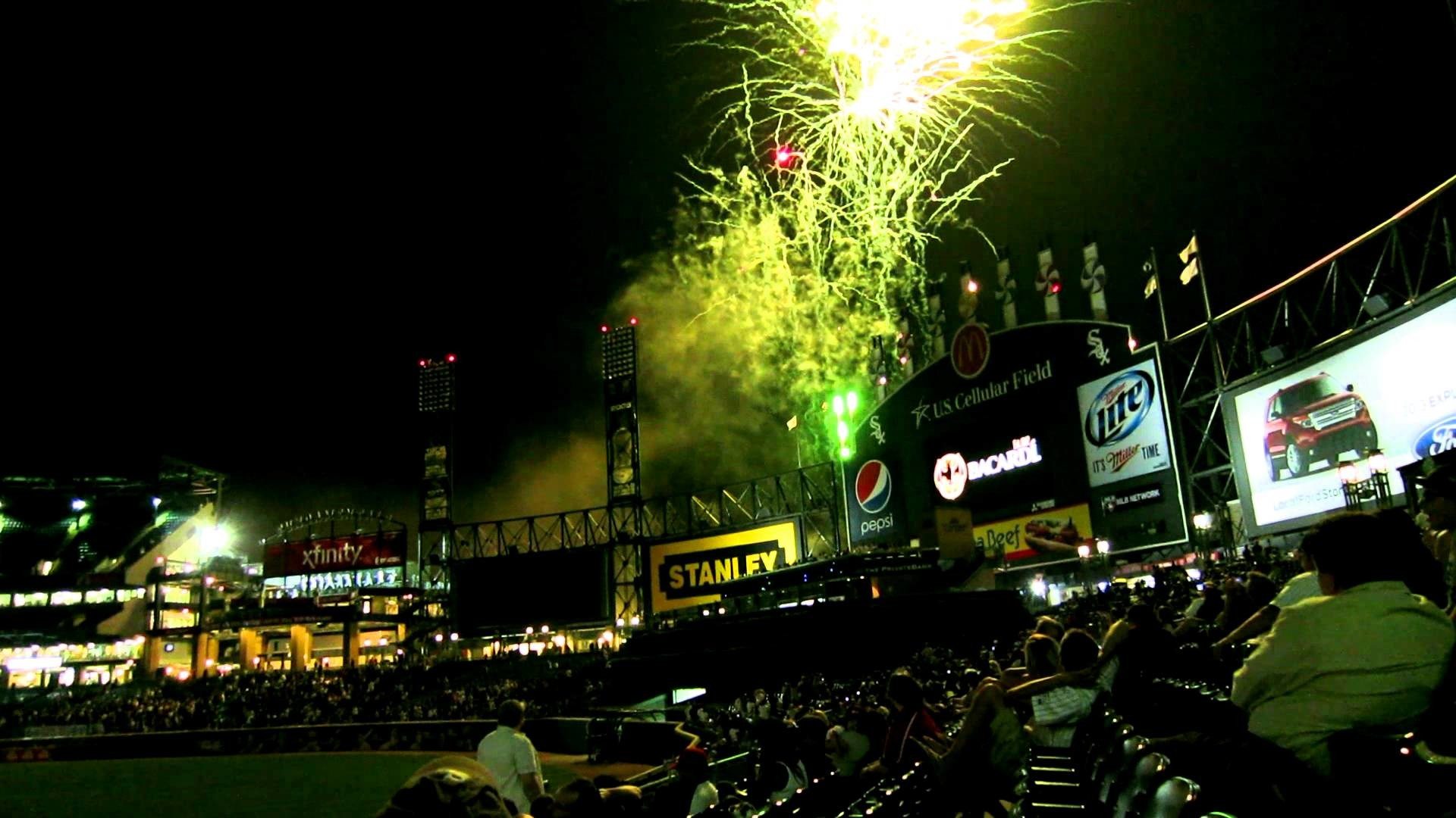 Chicago white sox baseball game fireworks on friday night. Video taken with  canon s100.