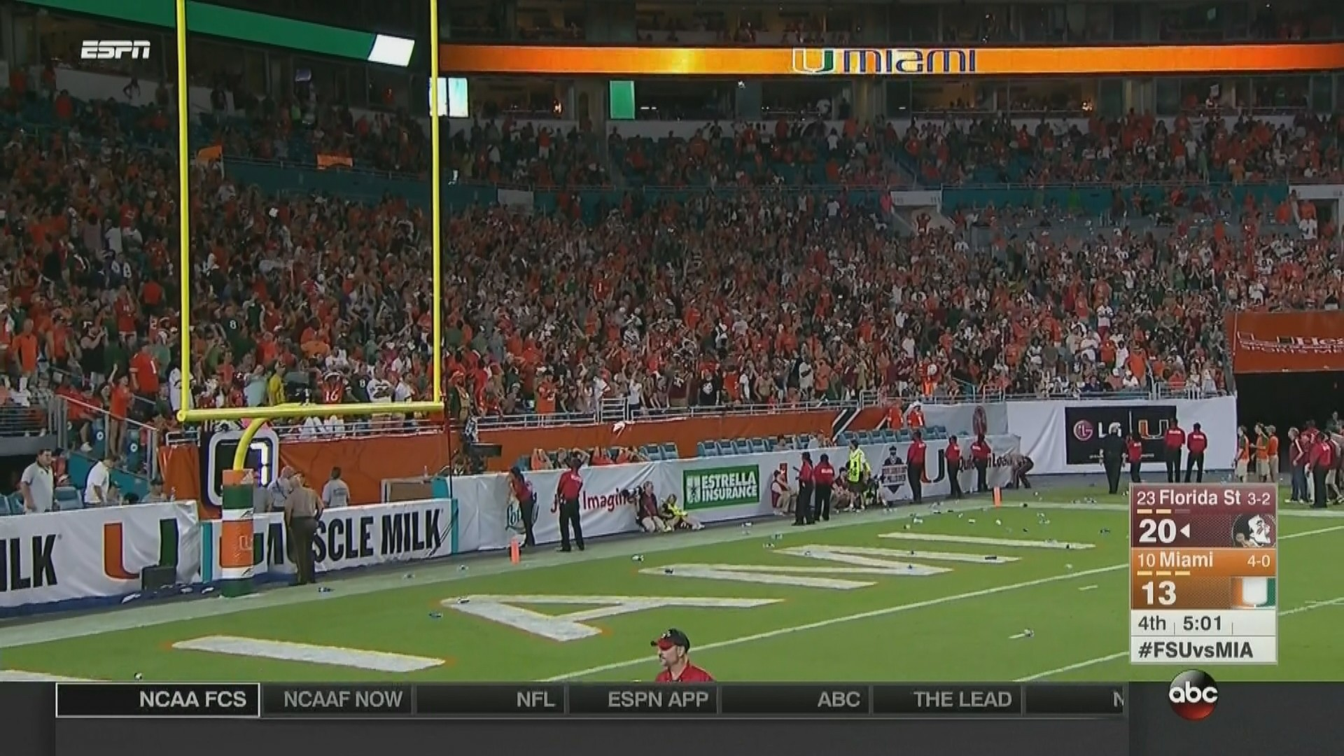 … which caused the uproar from a certain contingent of Hurricanes fans.  Miami fans were so upset, they started throwing trash on their own end  zone, …