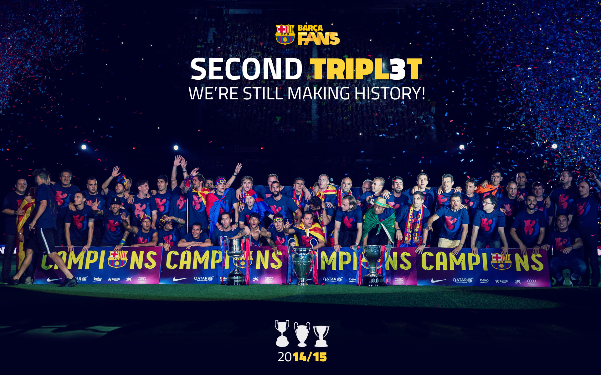 Second #TRIPL3T ; we're still making history! | My SOCCER obsession <333 |  Pinterest | FC Barcelona, Uefa champions league and Wallpaper