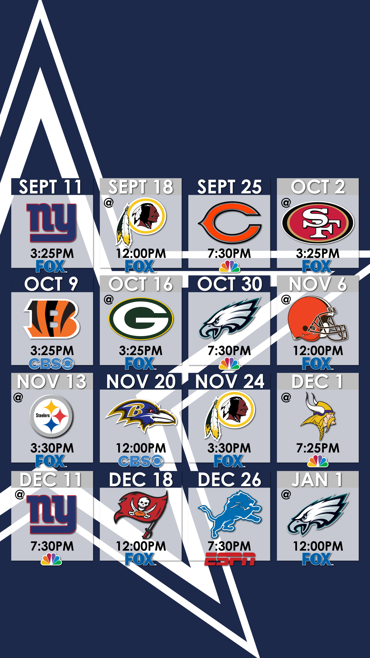 Dallas Cowboys Schedule Wallpaper for iPhone …