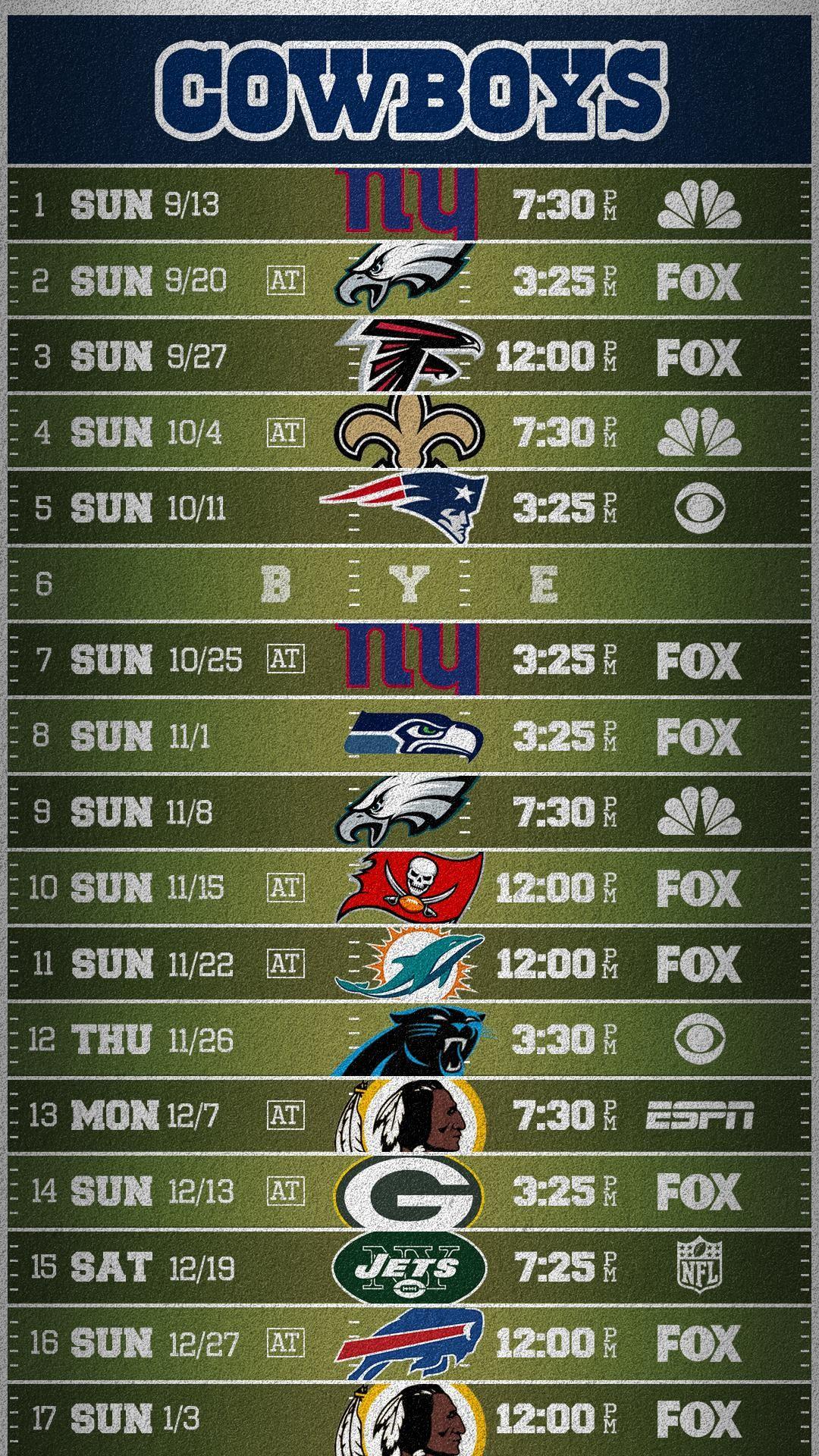 Cowboys Field Schedule Wallpaper (Mobile) …