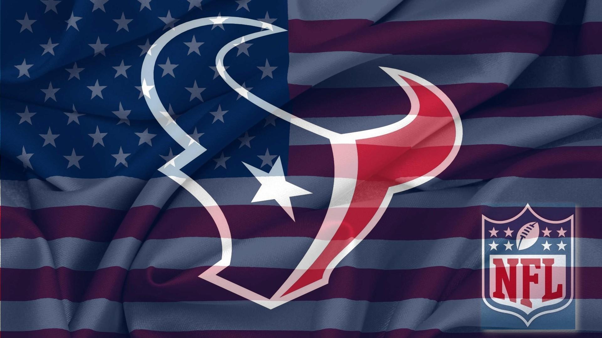 NFL Houston Texans Logo With NFL Logo On USA American Flag Background .