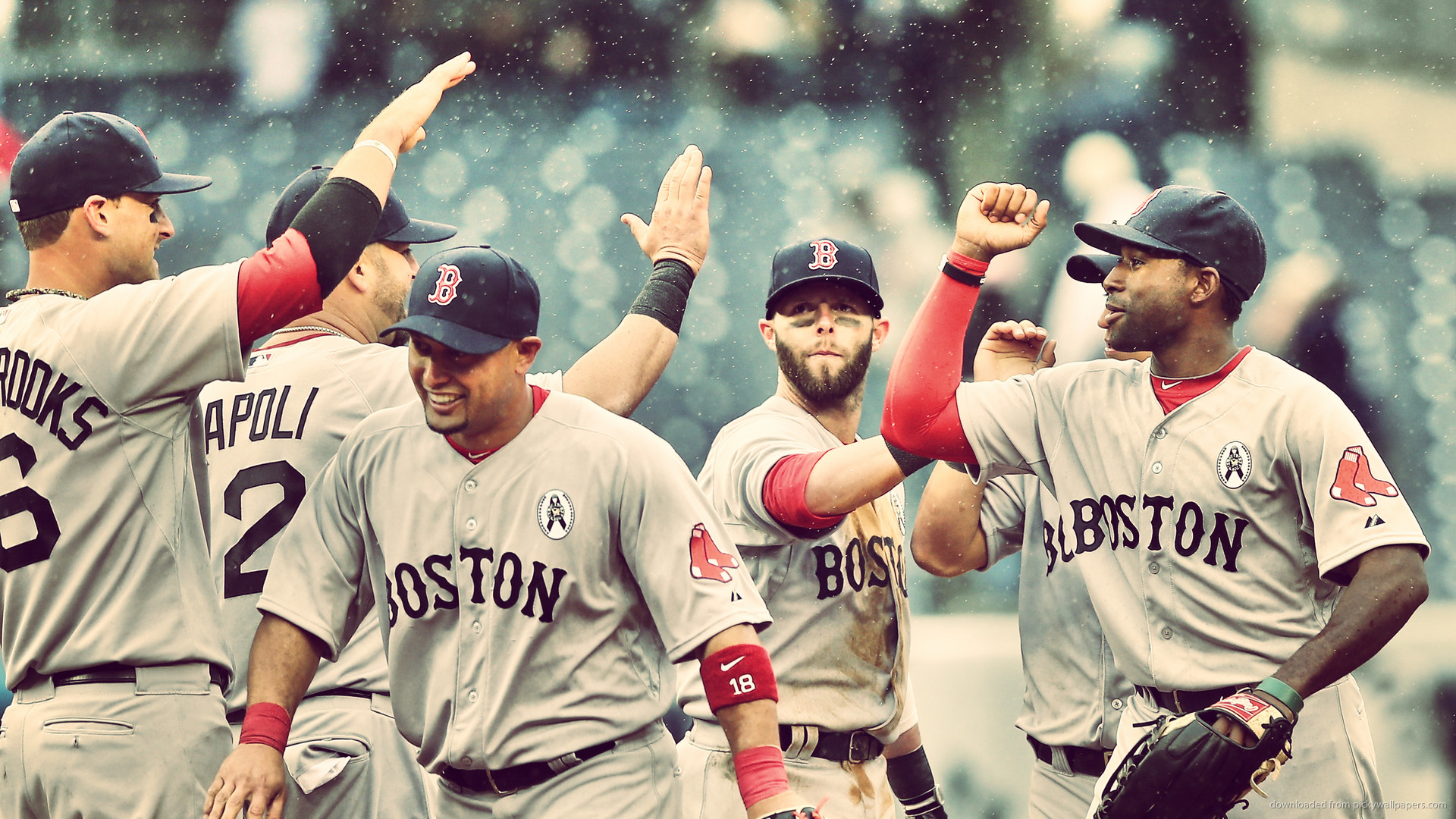 Red Sox Cheering in Rain picture