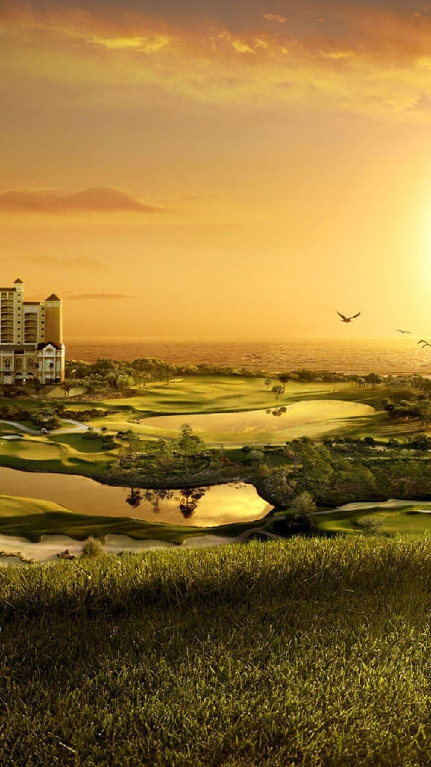 Wallpaper building, golf, decline, evening, cool, original,  fields,