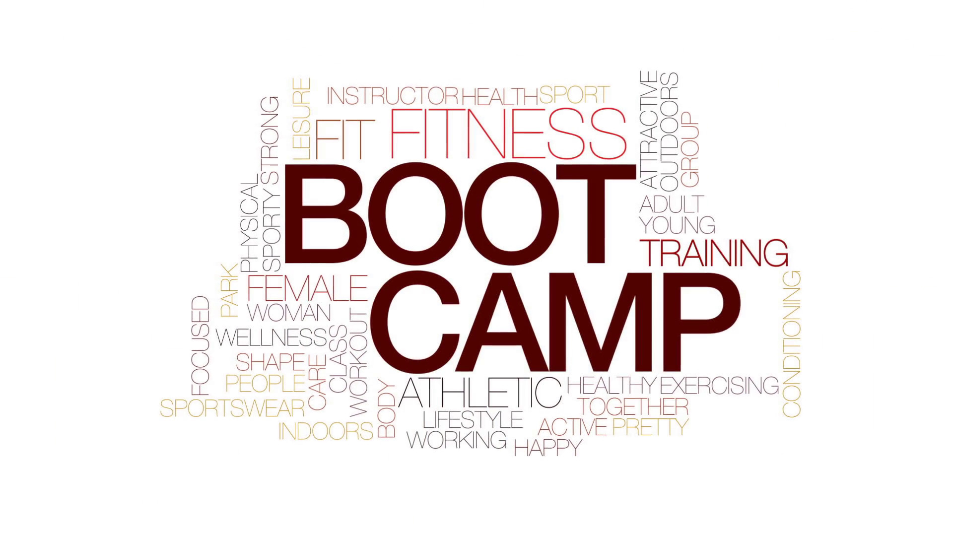 Boot camp animated word cloud, text design animation. Kinetic typography.  Motion Background – VideoBlocks