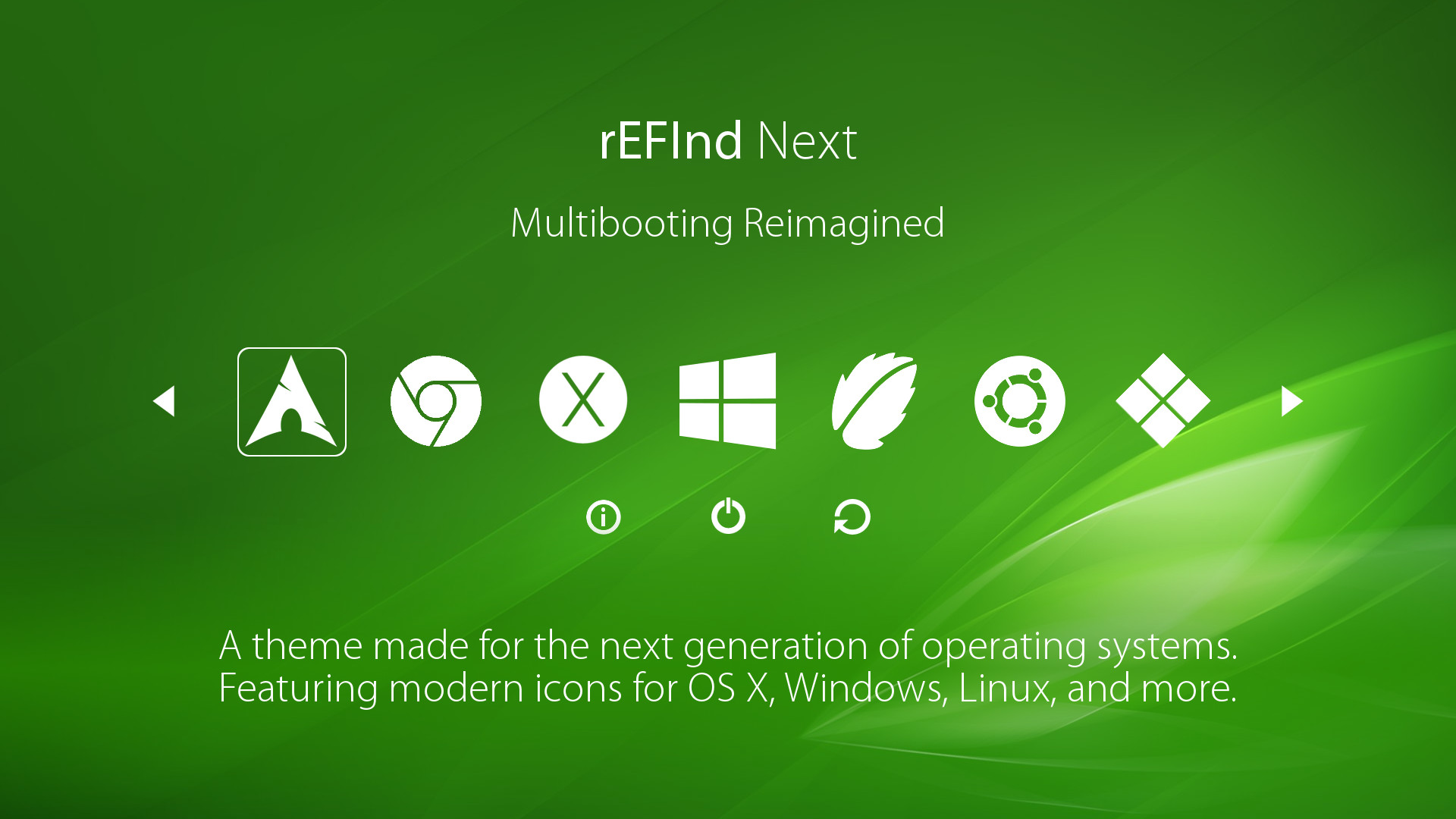 rEFInd Next uses simple white icons against green artwork