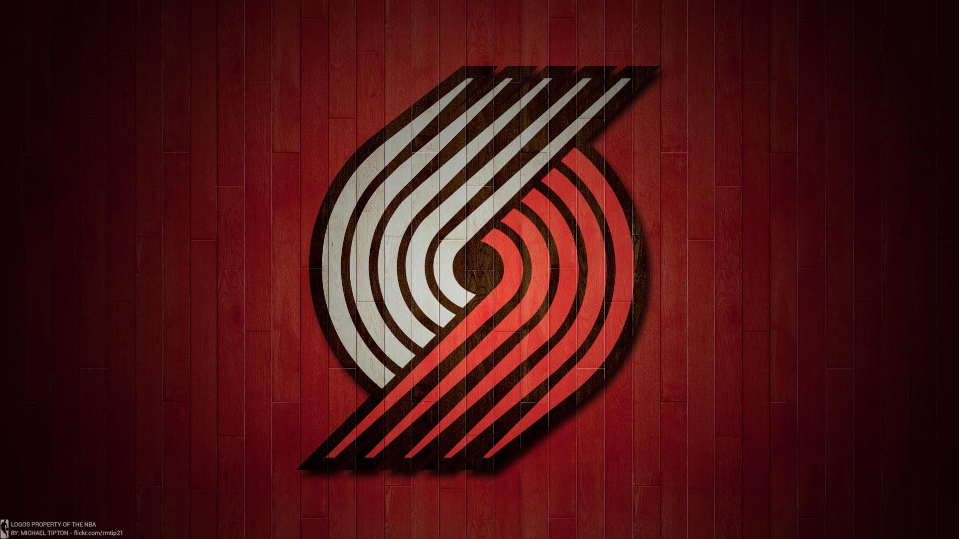 … NBA 2017 Portland Trail Blazers hardwood logo desktop wallpaper
