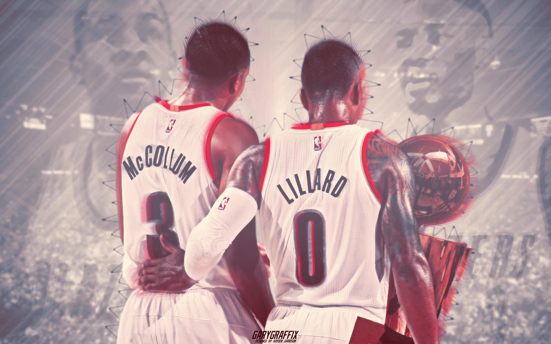NBA Finals Damian Lillard x CJ McCollum – Trailblazers Wallpaper