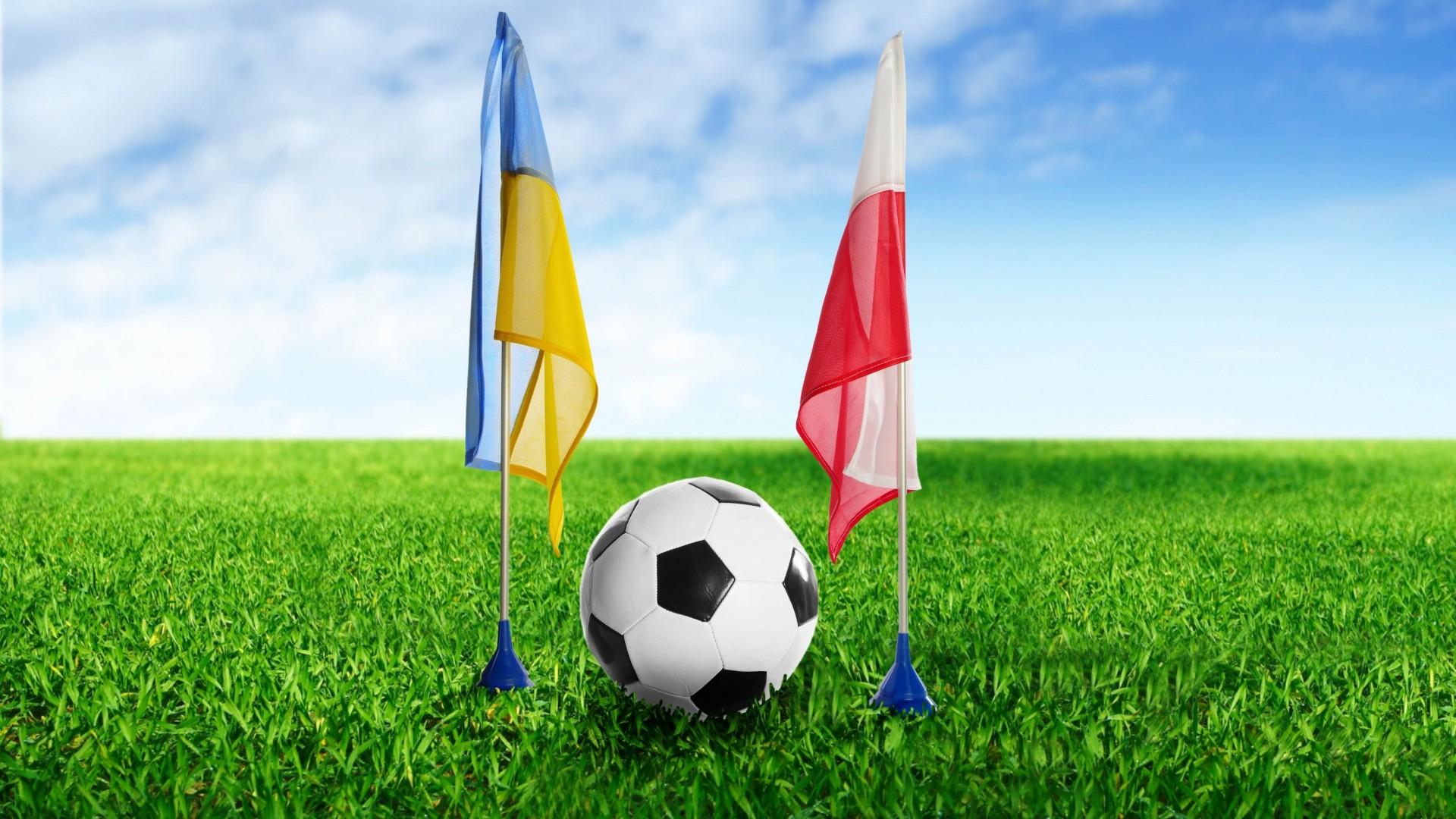 … Background Full HD 1080p. Wallpaper football, ukraine,  poland, ball, grass, flags