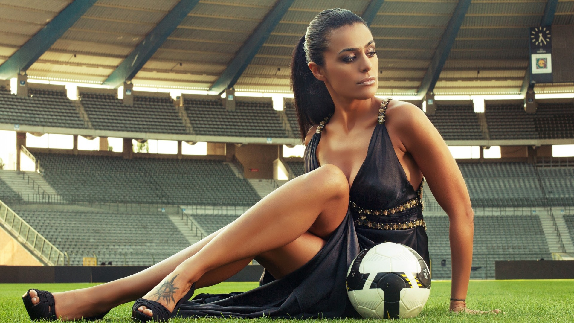 Preview wallpaper soccer, football, girl with the ball, stadium 1920×1080